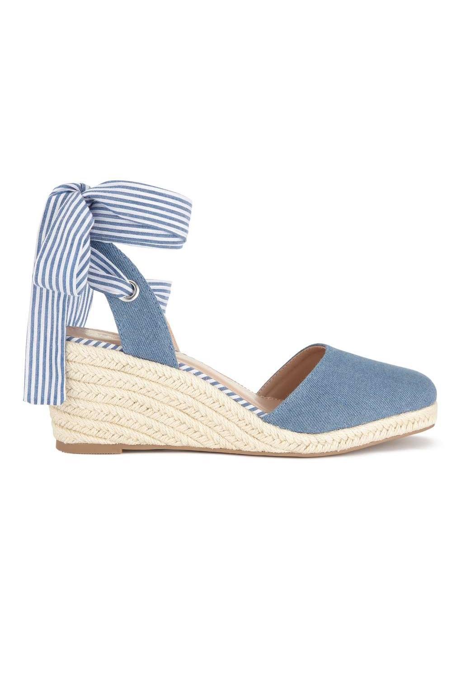 73ca6206cde0 Lyst - Miss Selfridge Mimi Denim Closed Toe Wedges in Blue