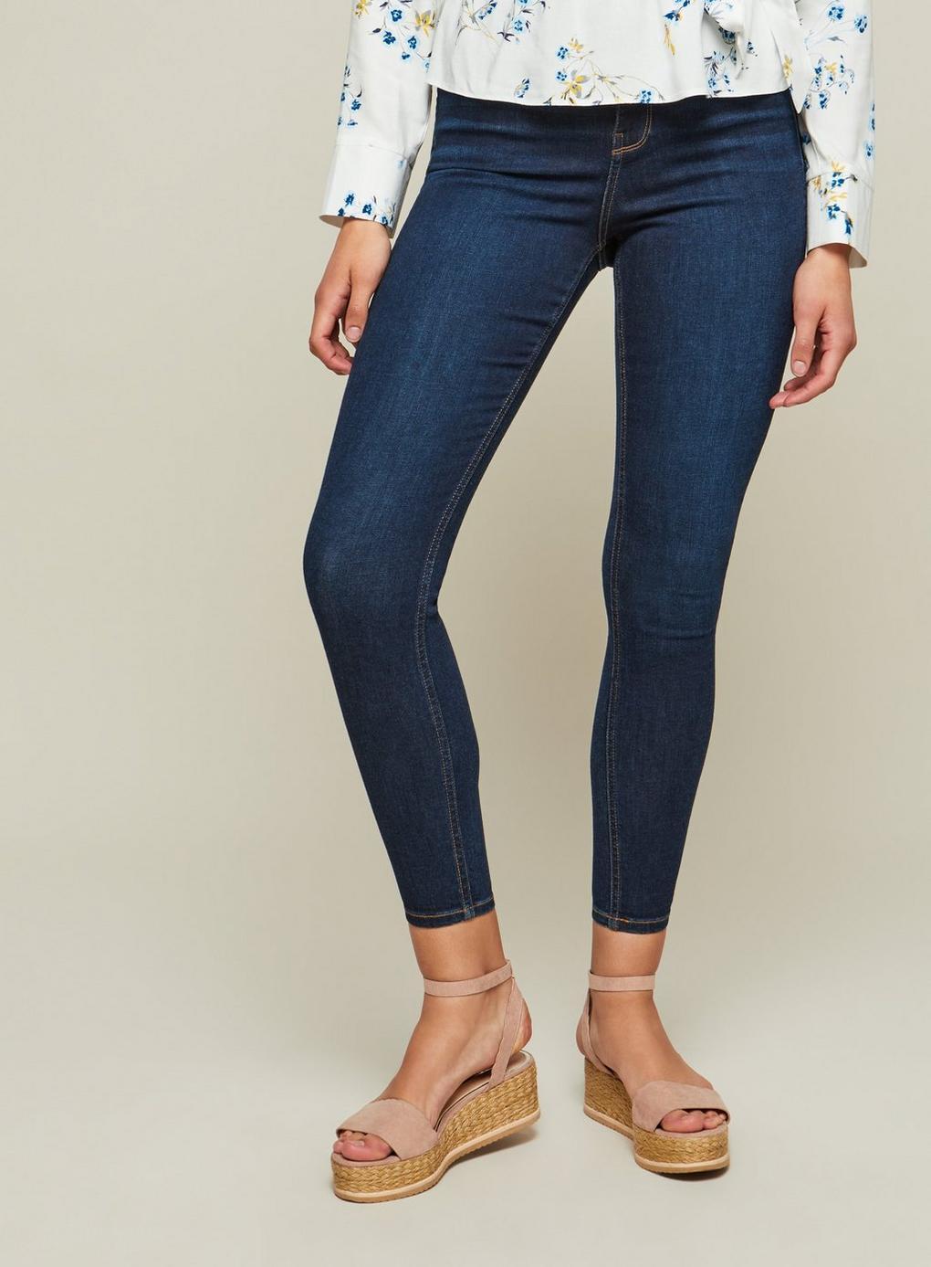 Miss Selfridge Denim Steffi Super High Waist Indigo Jeans in Blue