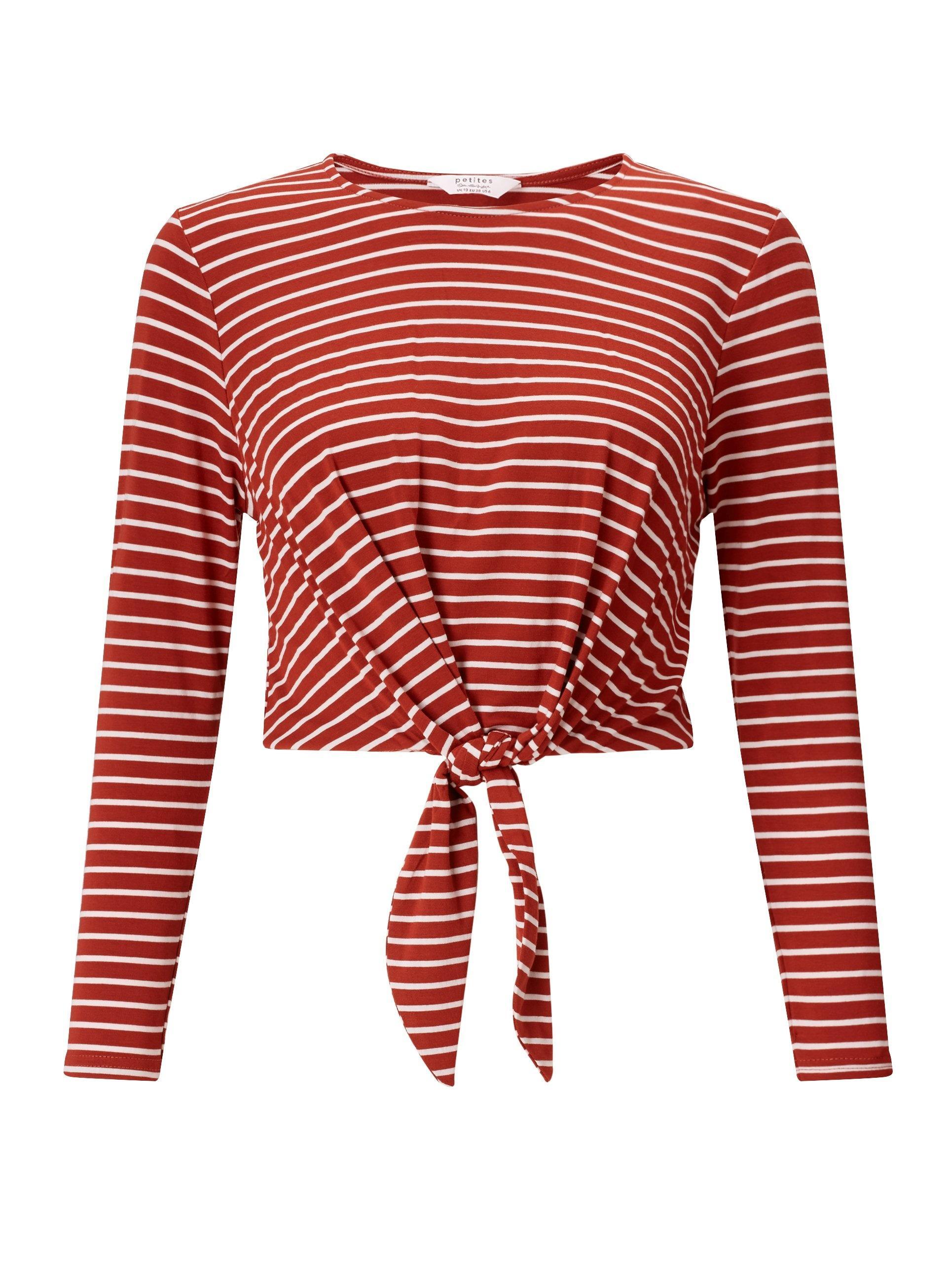 fbffc001d4c Miss Selfridge Petite Striped Long Sleeve Tie Front Crop Top in Red ...
