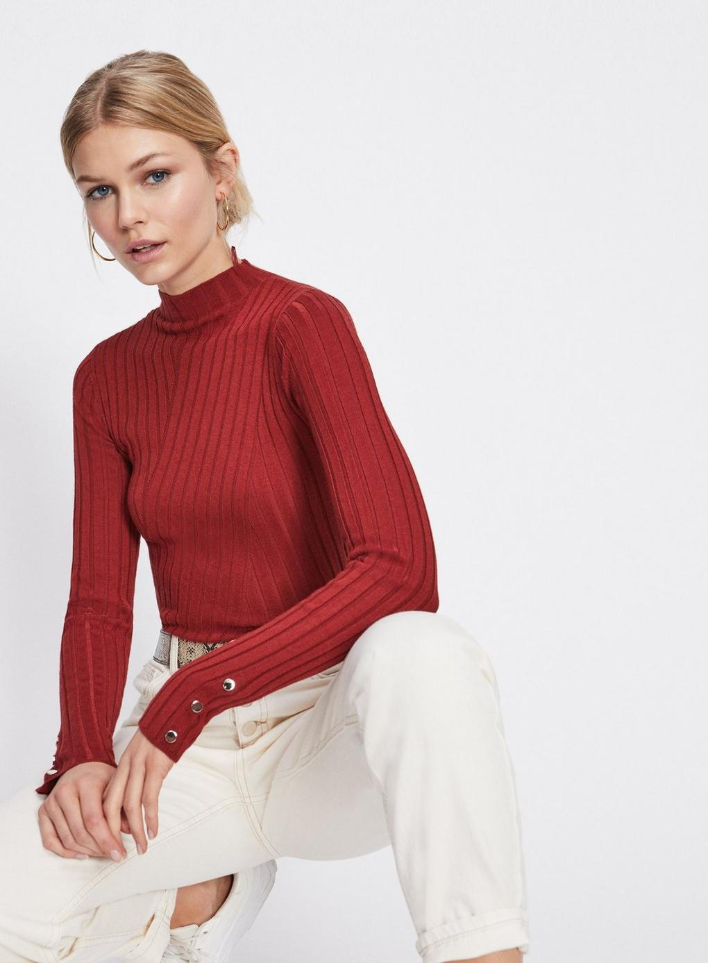 Lyst In Neck Red Rust Selfridge Funnel Miss Knitted Top Popper UxUqgCwA