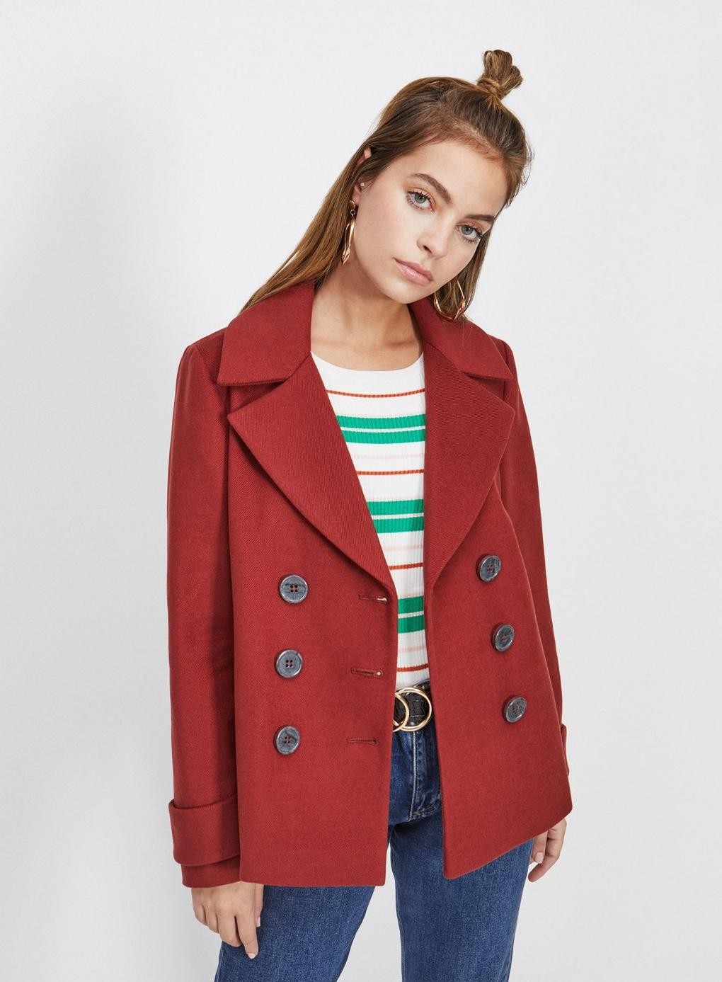 59bf48bfa24 Miss Selfridge Petite Rust Mini Pea Coat in Red - Lyst