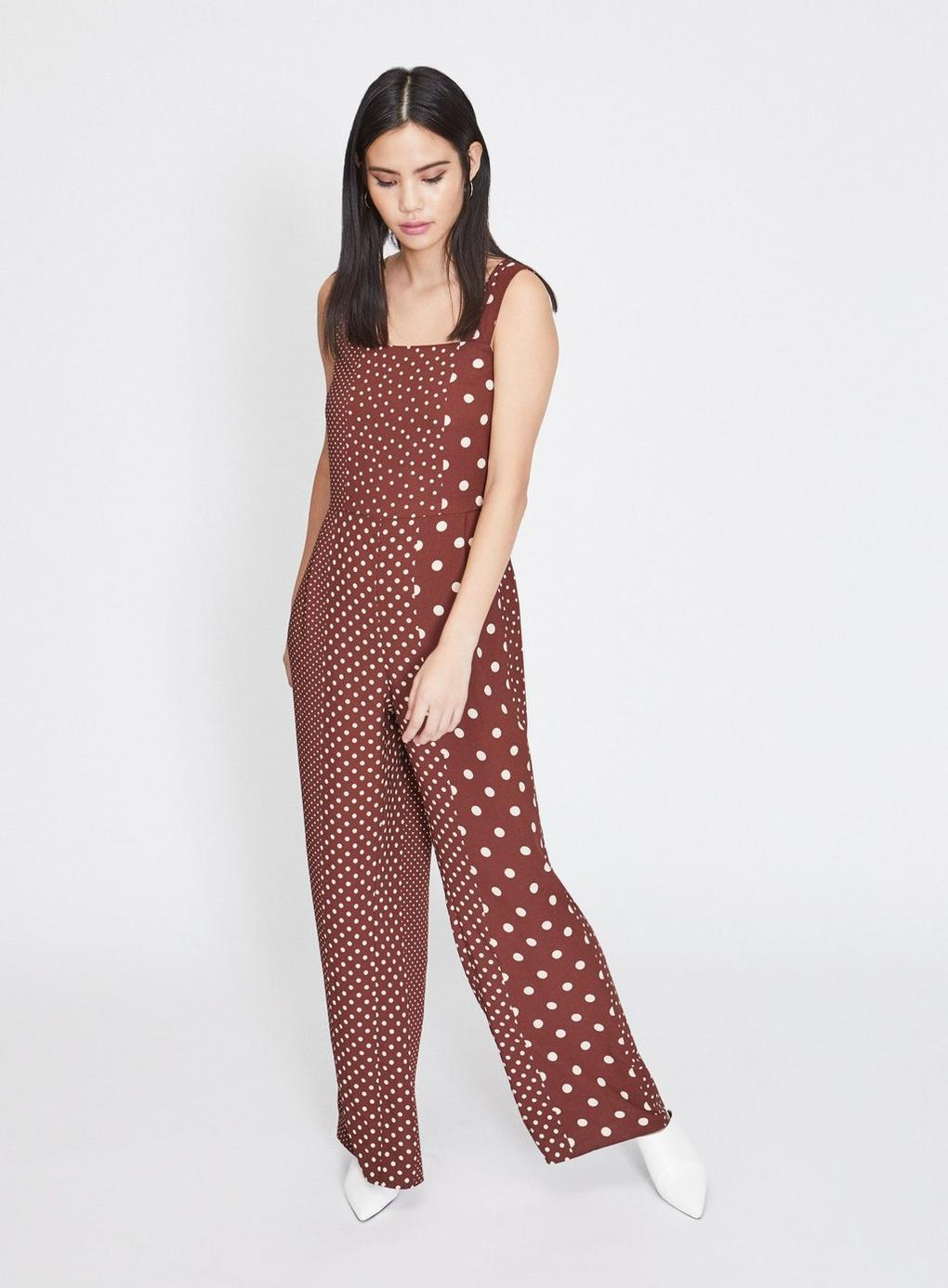 b0192463b18 Miss Selfridge Chocolate Spotted Pinafore Jumpsuit in Brown - Lyst