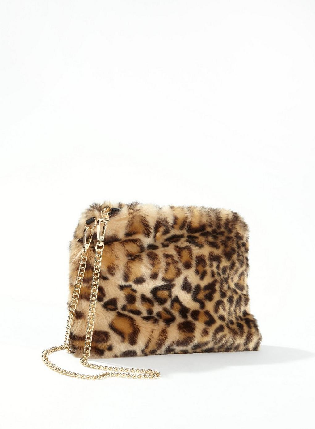 Lyst - Miss Selfridge Leopard Faux Fur Cross Body Bag f49aa91246288