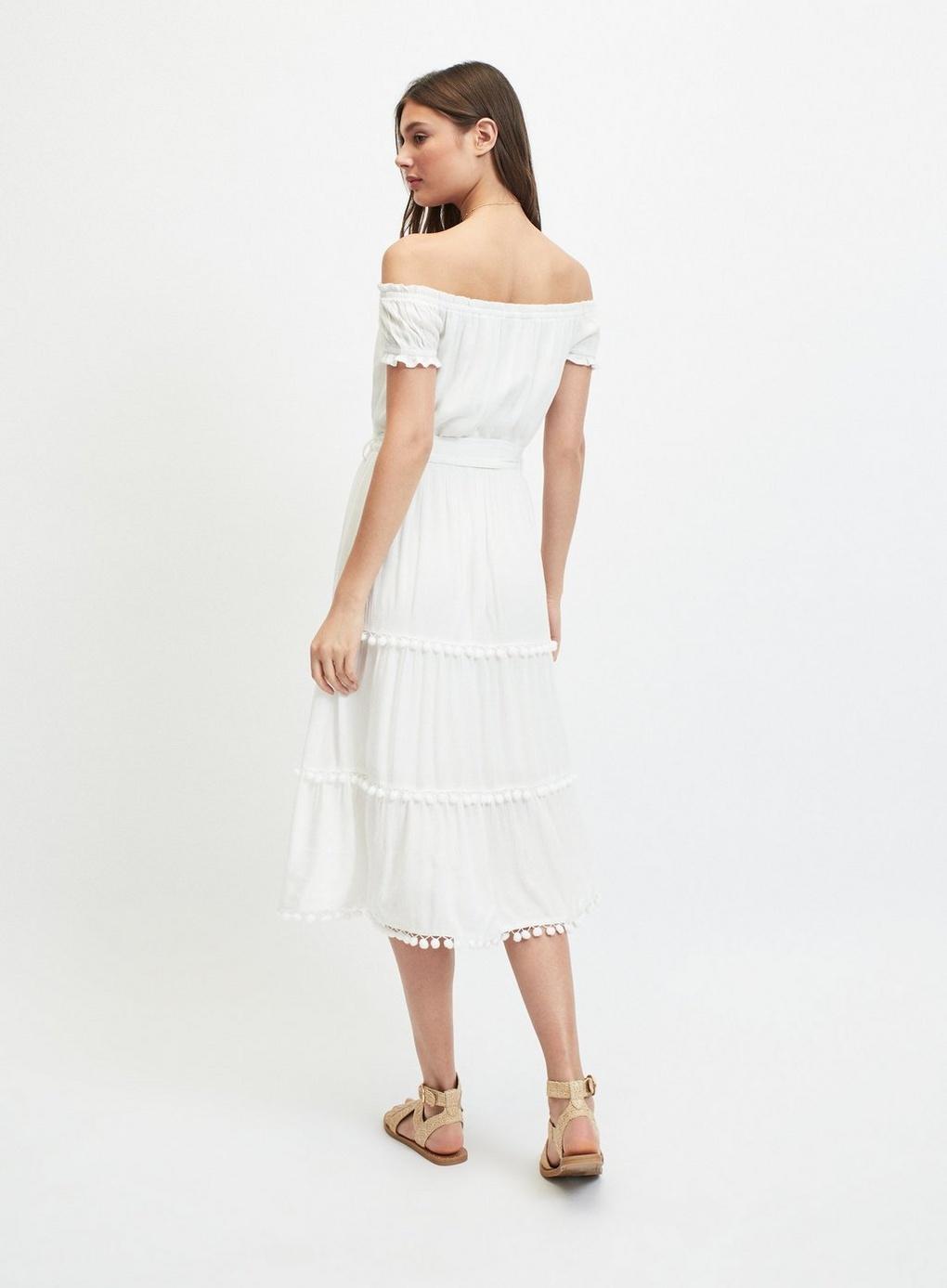 fbf3e0d82e Miss Selfridge - White Ivory Pom Pom Midi Bardot Dress - Lyst. View  fullscreen