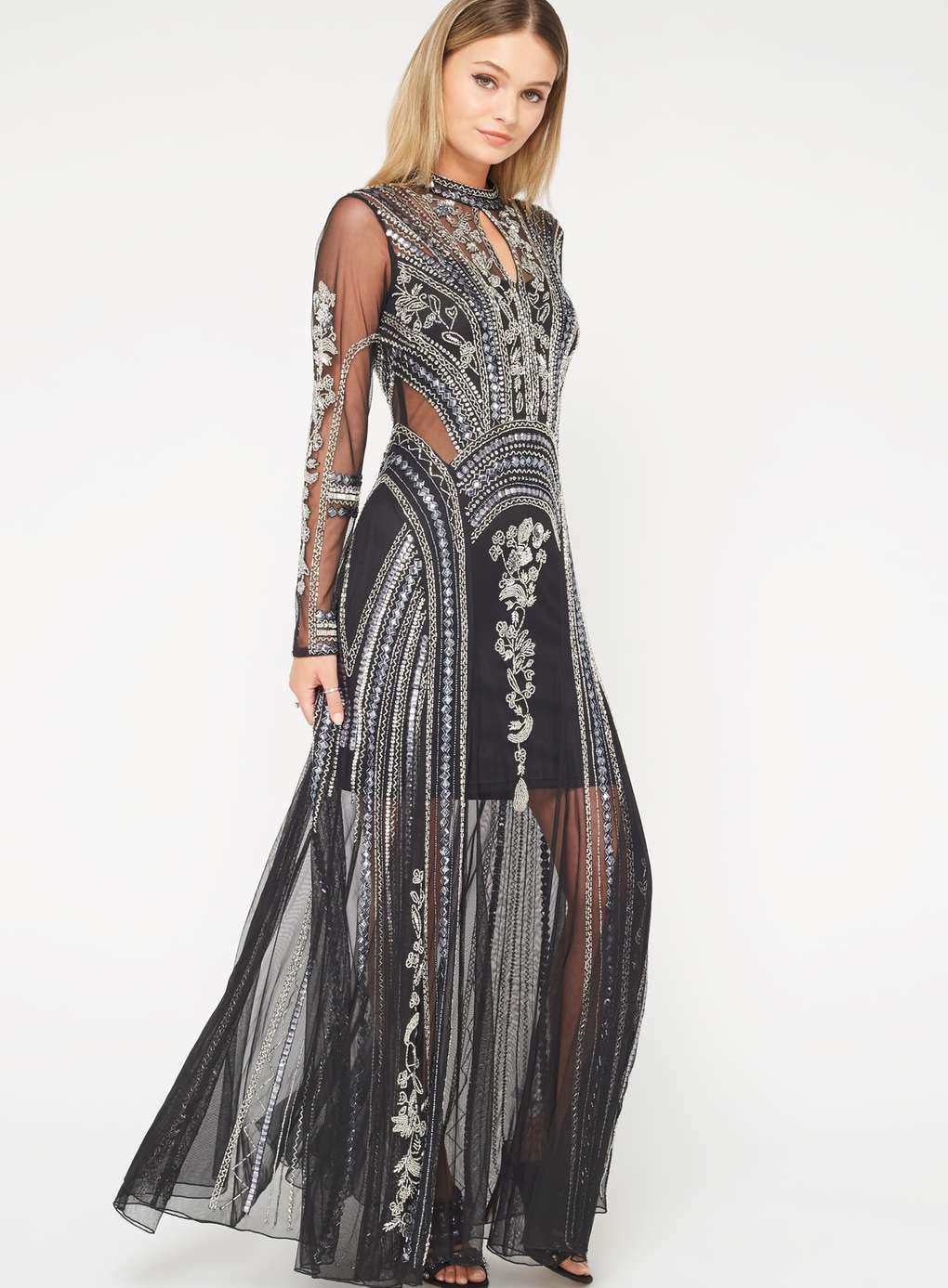 5f0afe628c0d6 Miss Selfridge Premium Showstopper Embellished Maxi Dress in Black ...