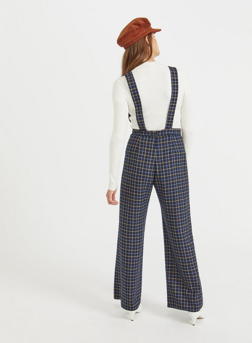 6ad16f9f91 Lyst - Miss Selfridge Check Pinafore Jumpsuit in Blue