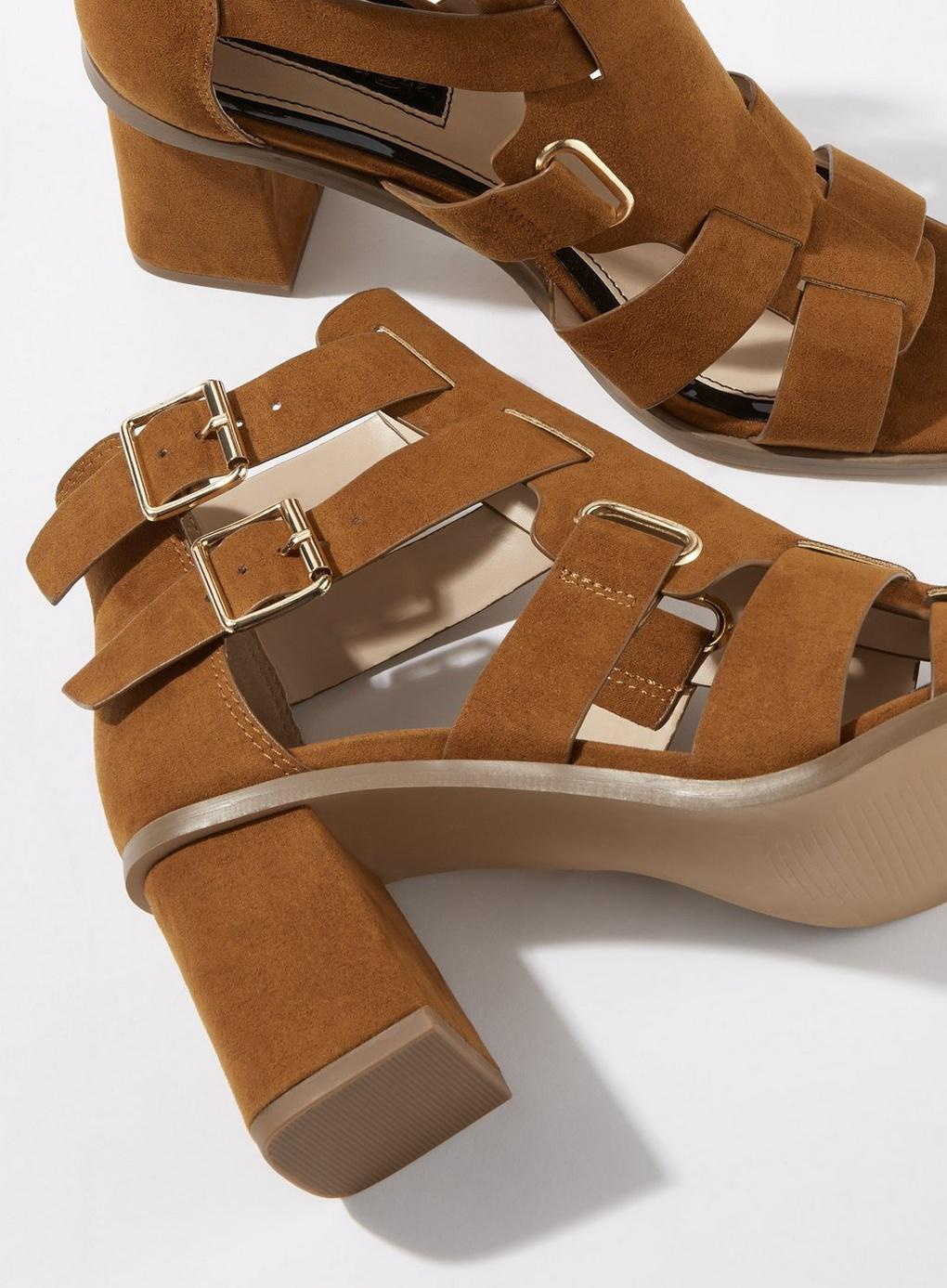 e46ac3f0c0b Miss Selfridge Saffi Tan Buckle Sandals in Brown - Lyst