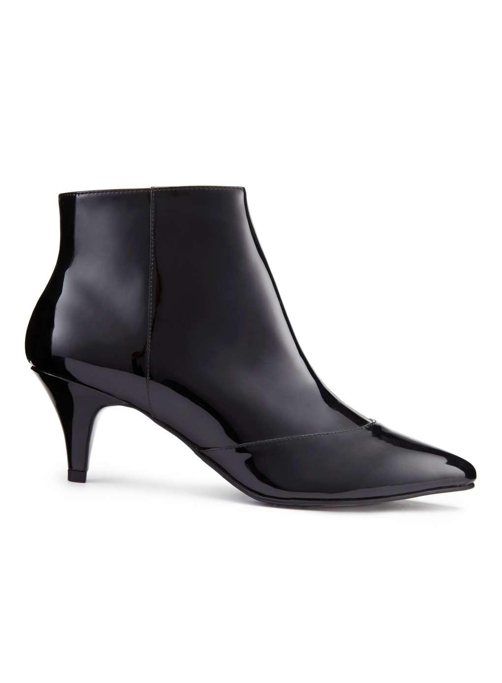 Miss Selfridge Dita Patent Kitten Heel Boots in Black