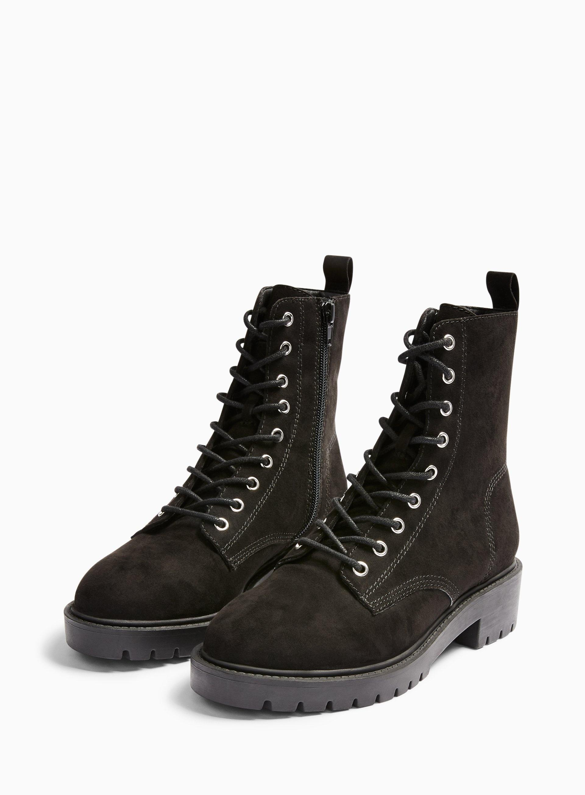Black Lace Up Hiker Boots - Lyst