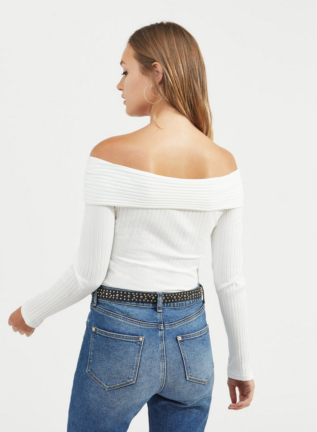 8da0039061b816 Miss Selfridge - White Ivory Jumbo Ribbed Bardot Top - Lyst. View fullscreen