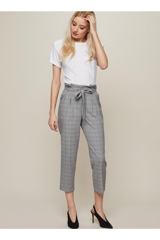 Miss Selfridge. Women's Black Petite Check Paperbag Trouser