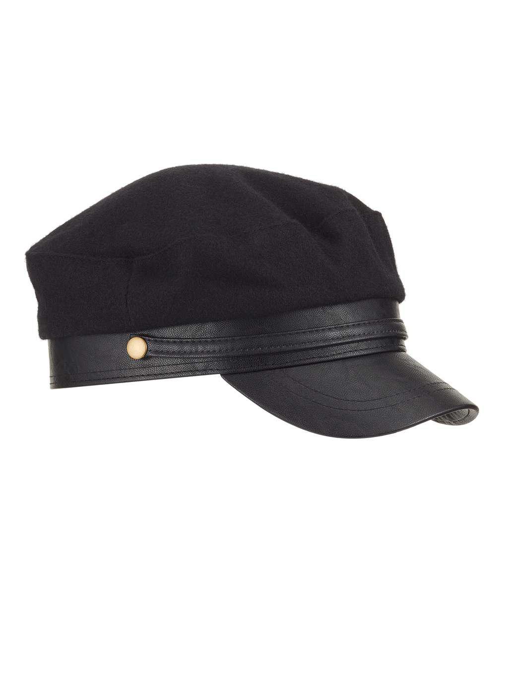 0b57eb21aa6 Miss Selfridge Black Baker Boy Hat in Black - Lyst