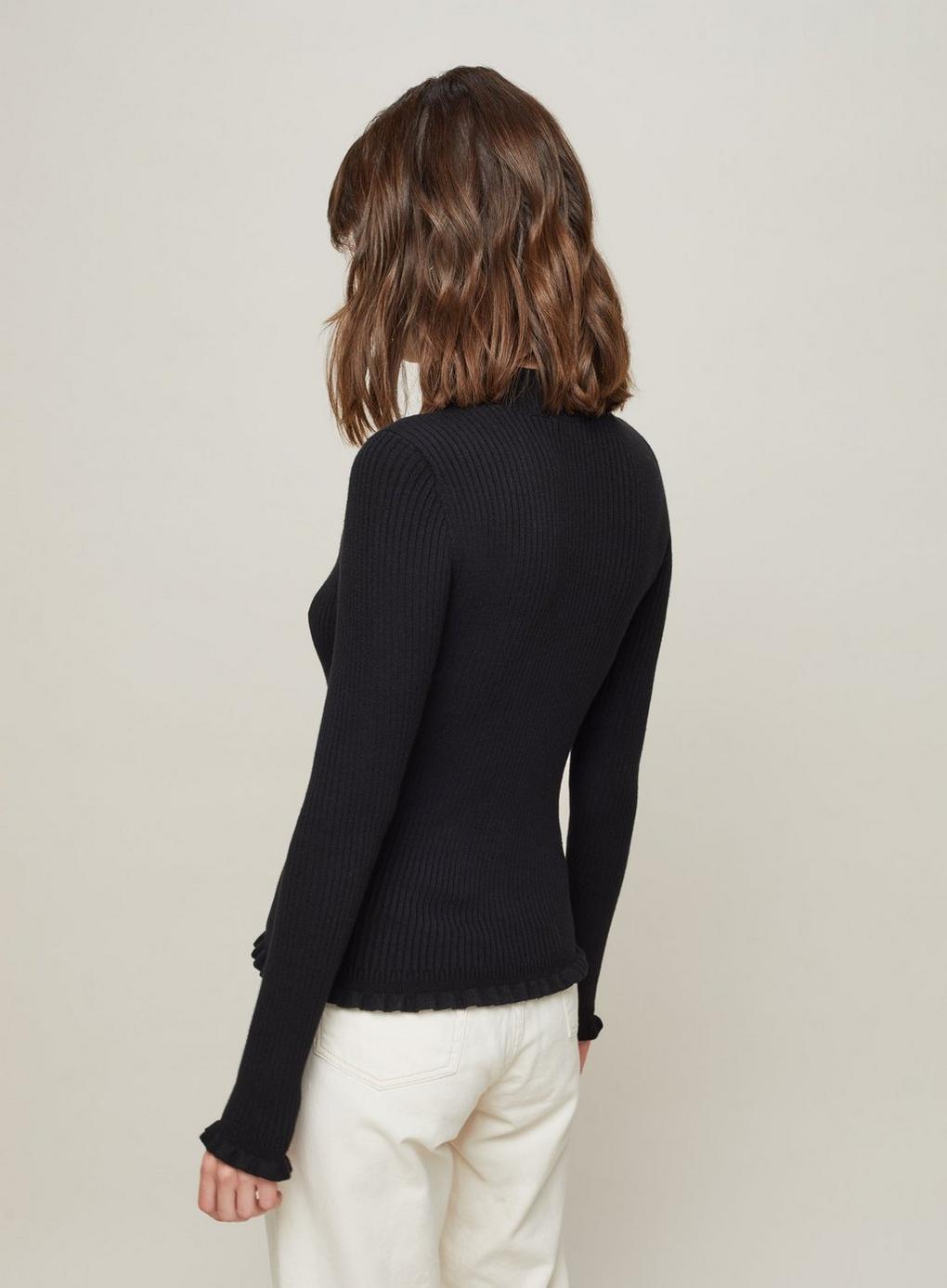 ba4f5224a6159f Miss Selfridge Black Frill Hem Rib Knitted Top in Black - Lyst