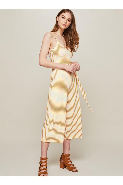 23a762f155a Lyst - Miss Selfridge Striped Rib Culotte Jumpsuit in Natural