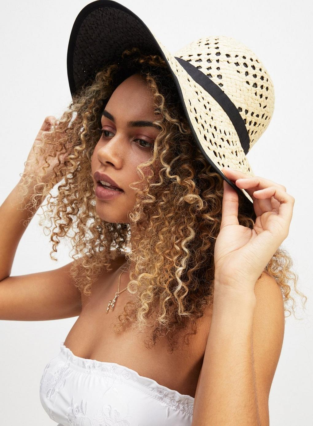55e466380f31c Miss Selfridge - Black Contrast Underlay Straw Hat - Lyst. View fullscreen