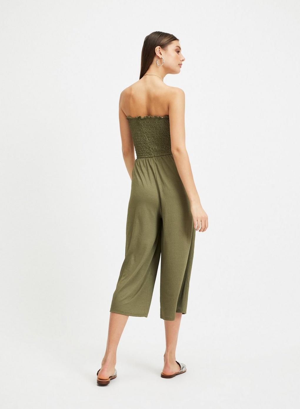 79e53e2188c Miss Selfridge Khaki Shirred Bandeau Wide Leg Jumpsuit in Green - Lyst