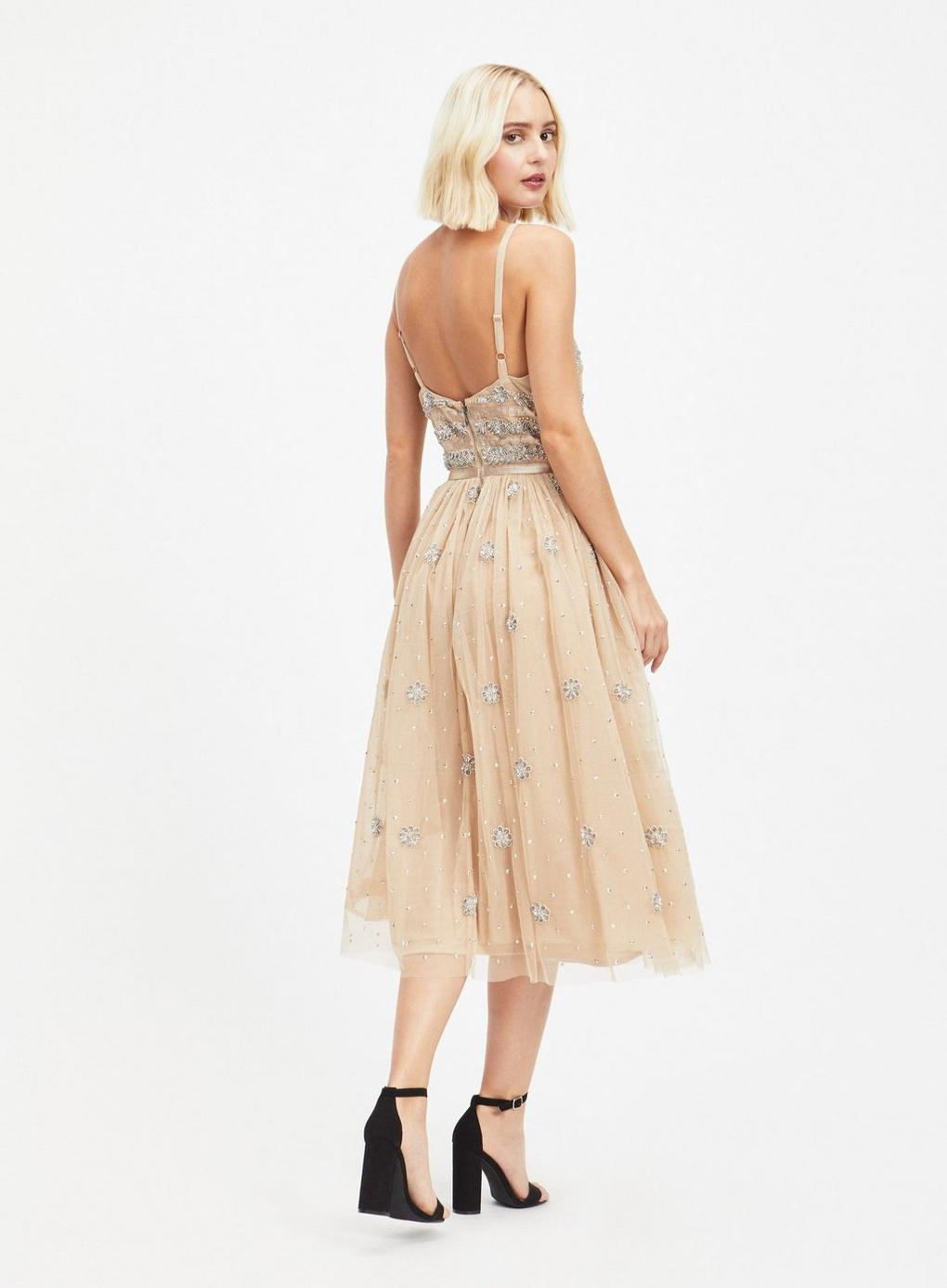 Miss Selfridge Dolly Delicious Nude Plunge Front Embellished Prom
