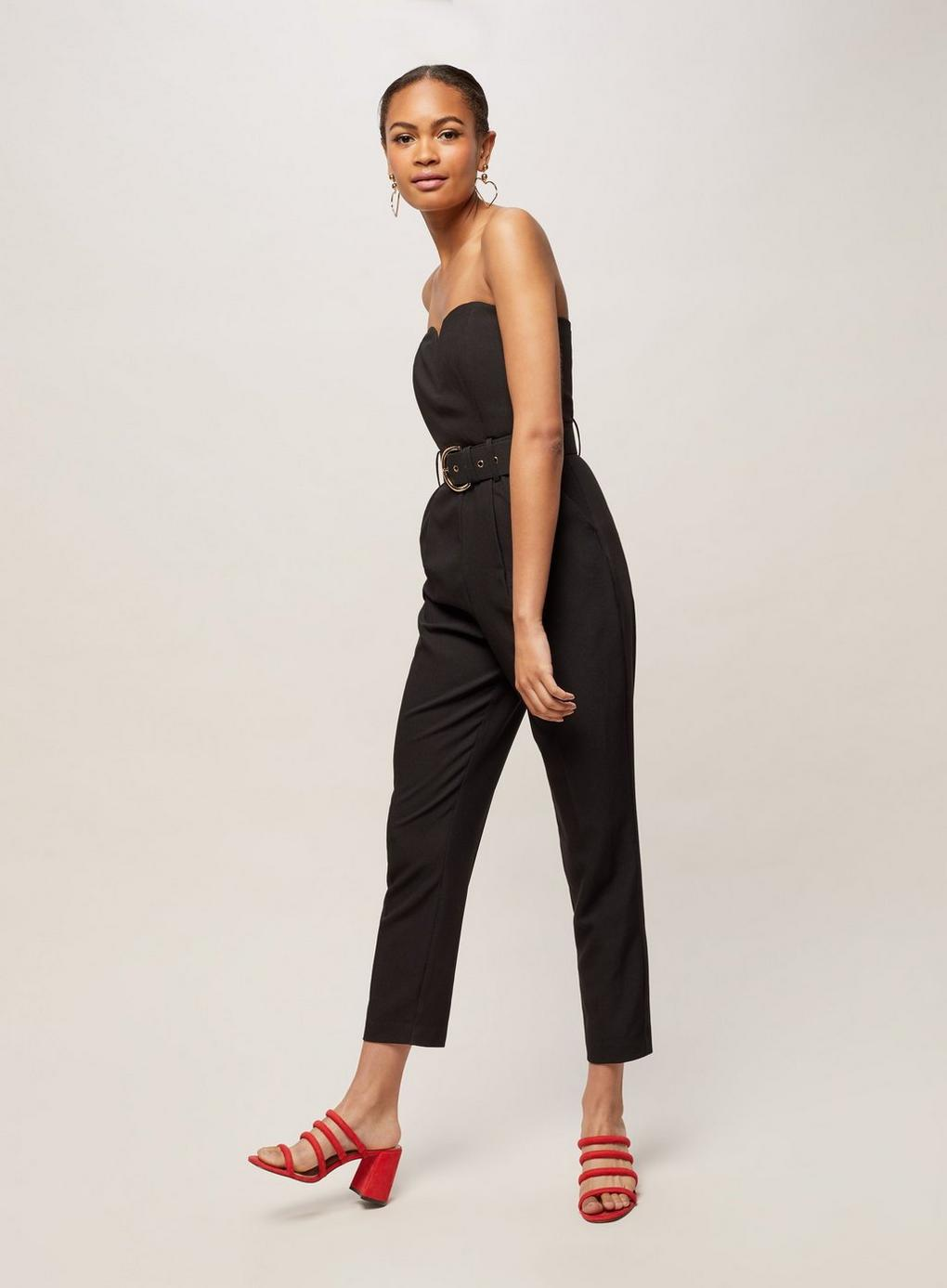 221bd240e256 Lyst - Miss Selfridge Bandeau Belted Jumpsuit in Black - Save 32.5%