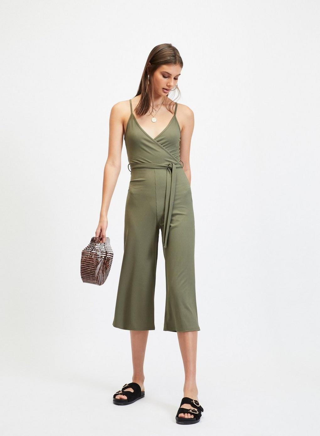 b22a778141a Miss Selfridge - Green Khaki Slinky Strappy Rib Jumpsuit - Lyst. View  fullscreen