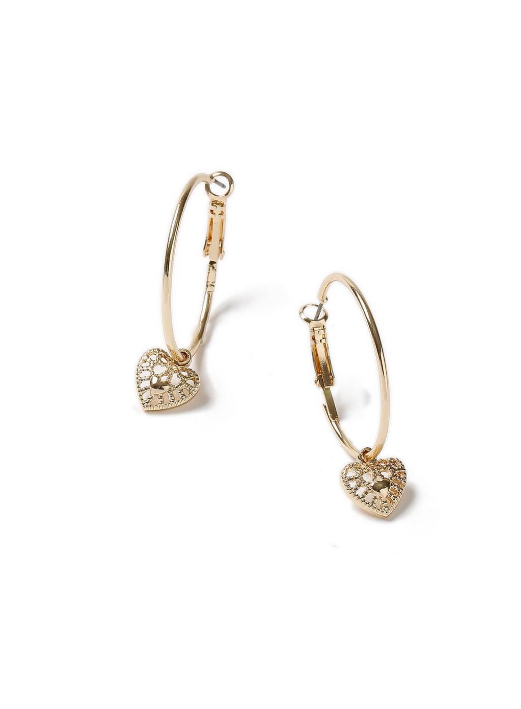b222c687d1e27 Miss Selfridge Heart Hoop Earrings in Metallic - Lyst