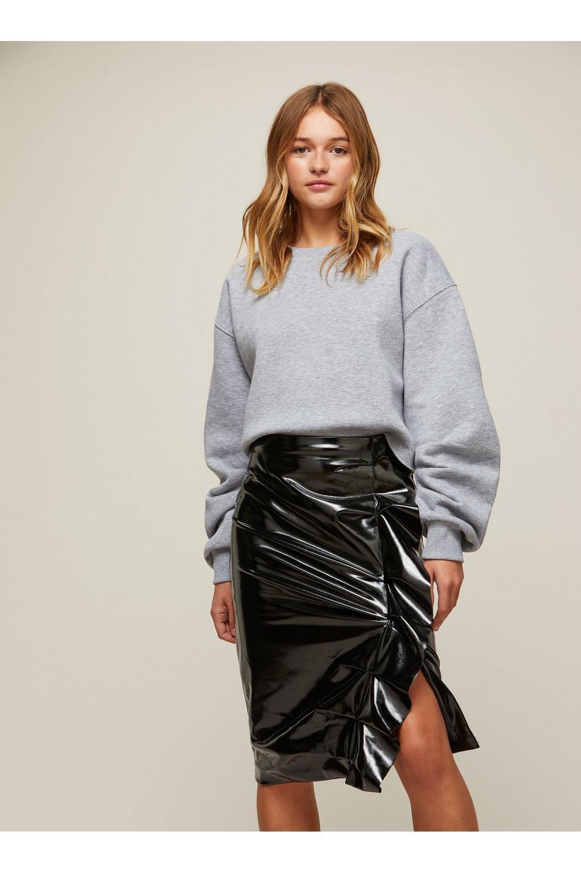 Footlocker Finishline Sale Online Shopping Online Gathered Vinyl Midi Skirt - Black Miss Selfridge LOz3Hc