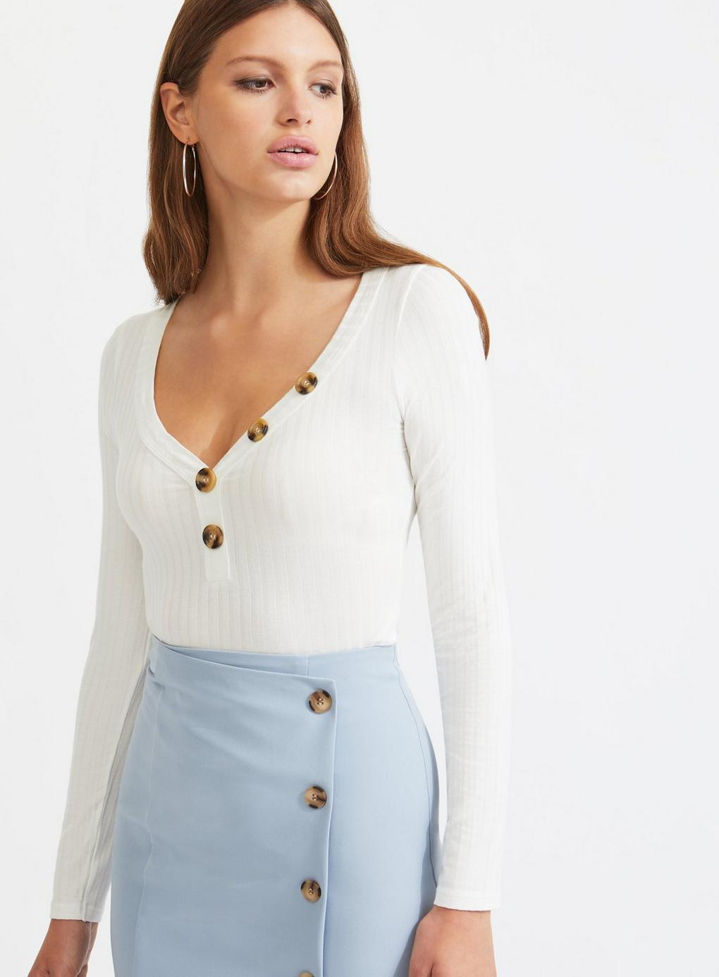 5a450b0a8609a Lyst - Miss Selfridge Ivory Long Sleeve Horn Button Top in White