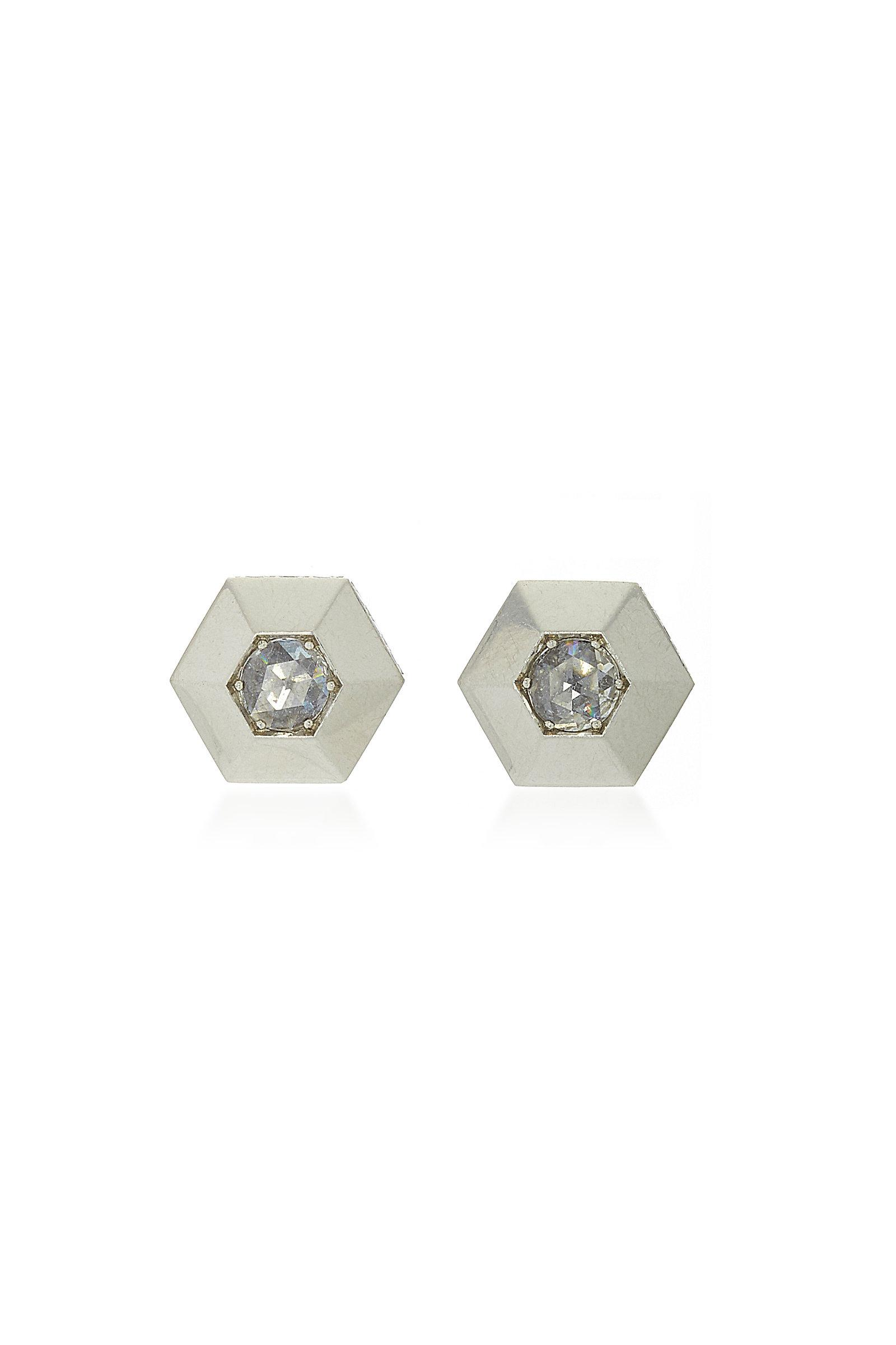 f08d15bca Fred Leighton Platinum Rose-cut Diamond Hexagonal Stud Earrings in ...