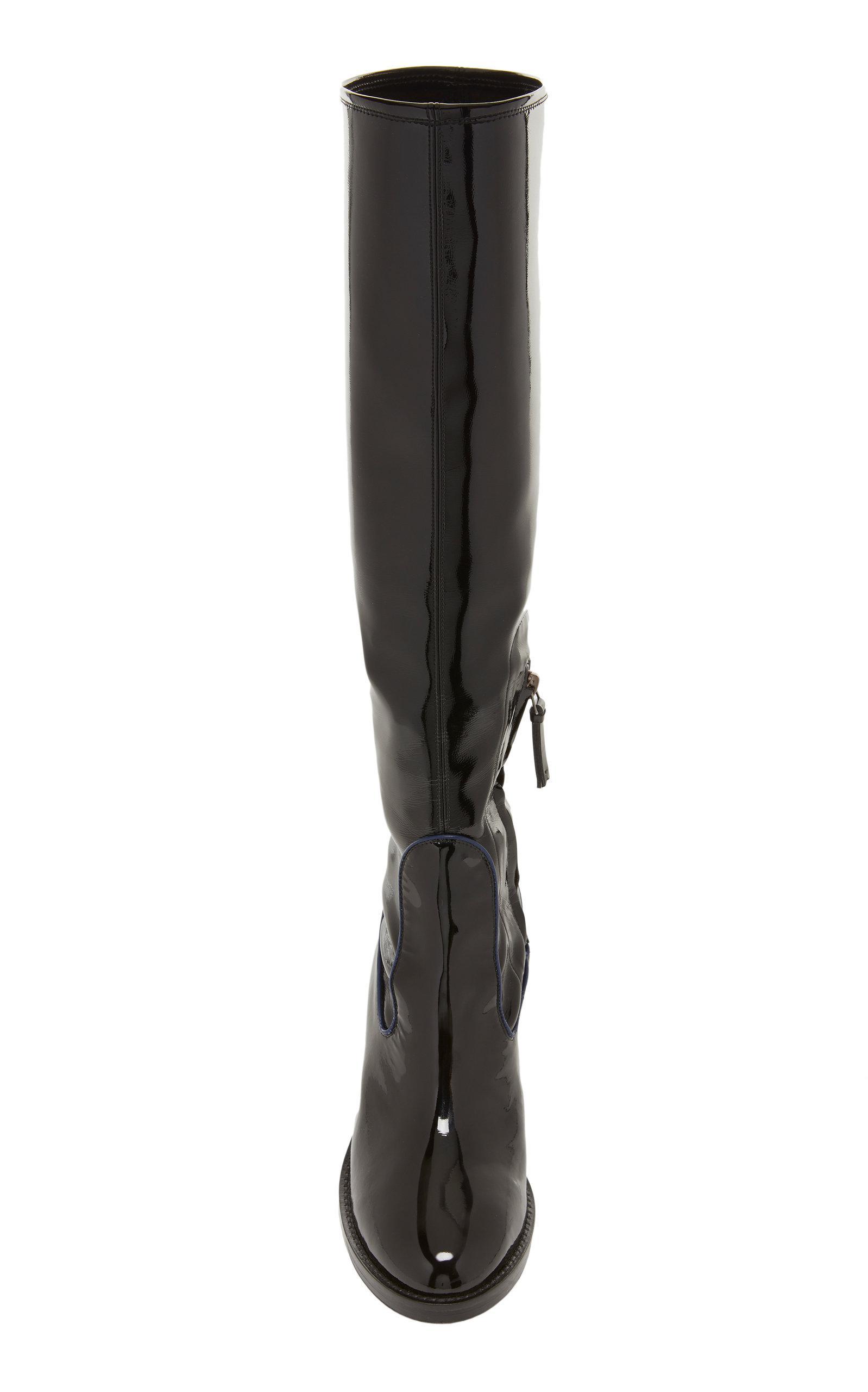 Fabrizio Viti Leather Madison Knee Boot in Black