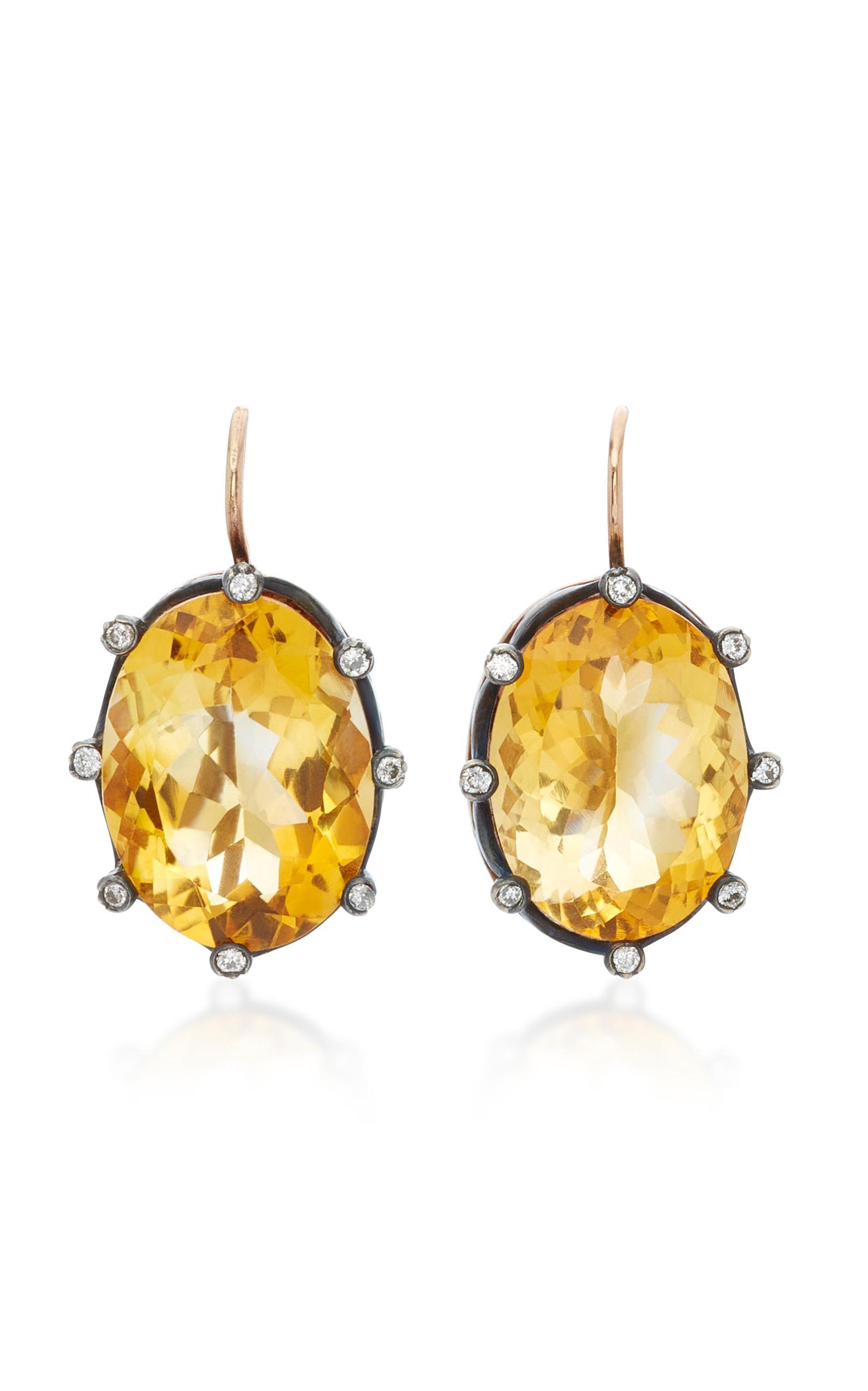 0aa536168 Lyst - Montse Esteve 18k Gold Citrine And Diamond Earrings in Orange