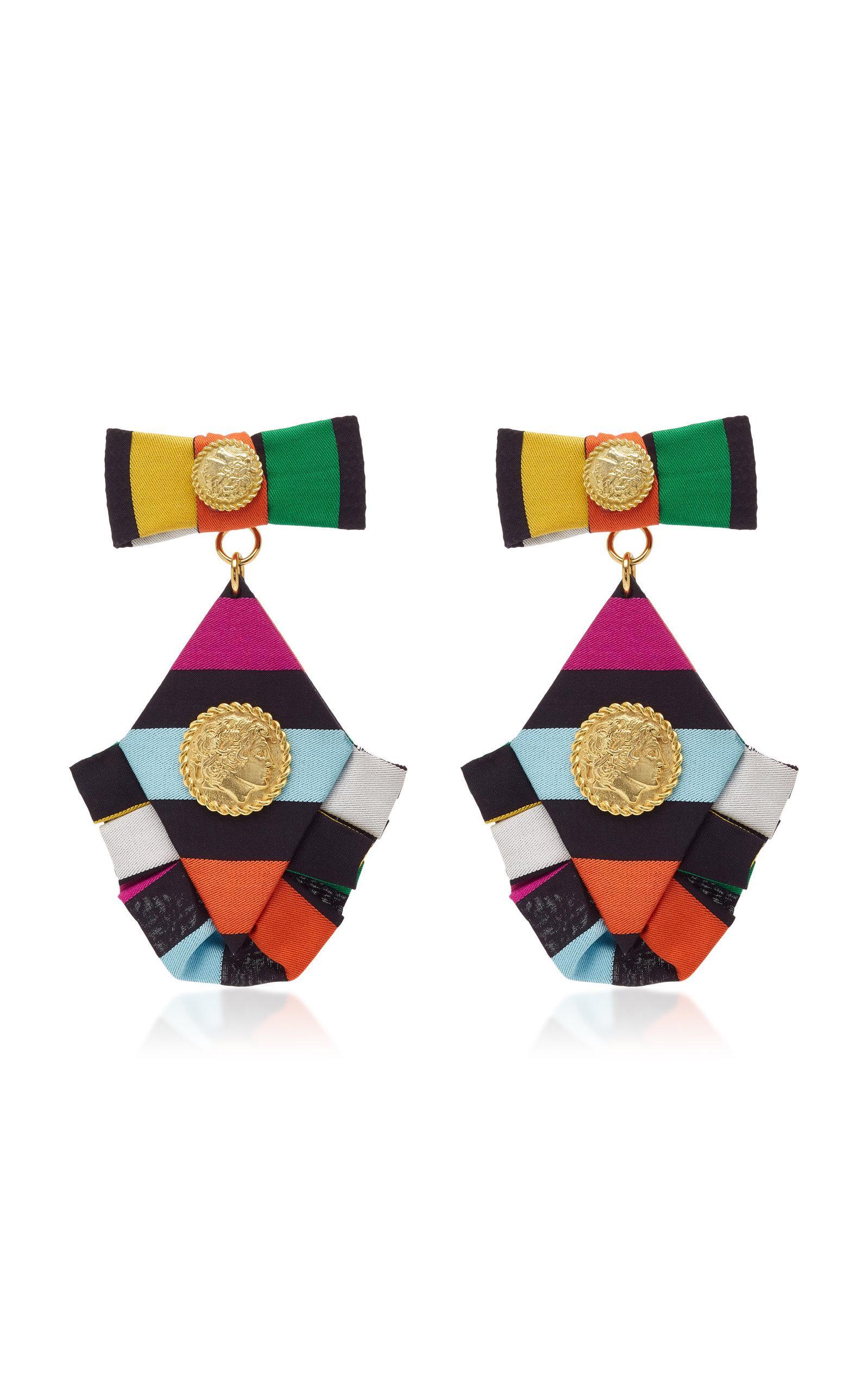 Caroline Constas Multicolored Diamond Ruffle Earrings bf01VLlxpu