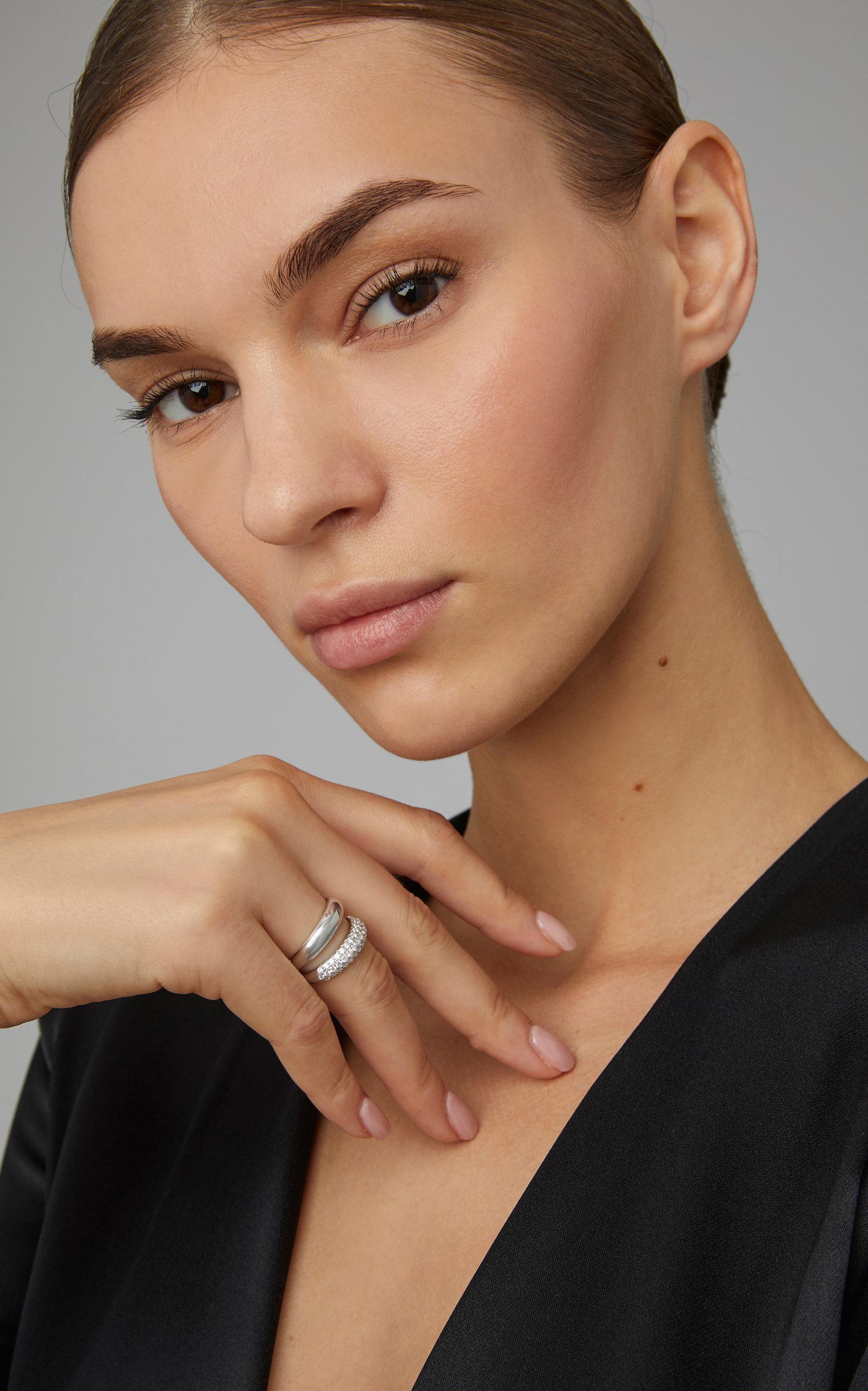 Carbon Hyde Gemini 14k White Gold Diamond Ring In Silver Metallic Lyst