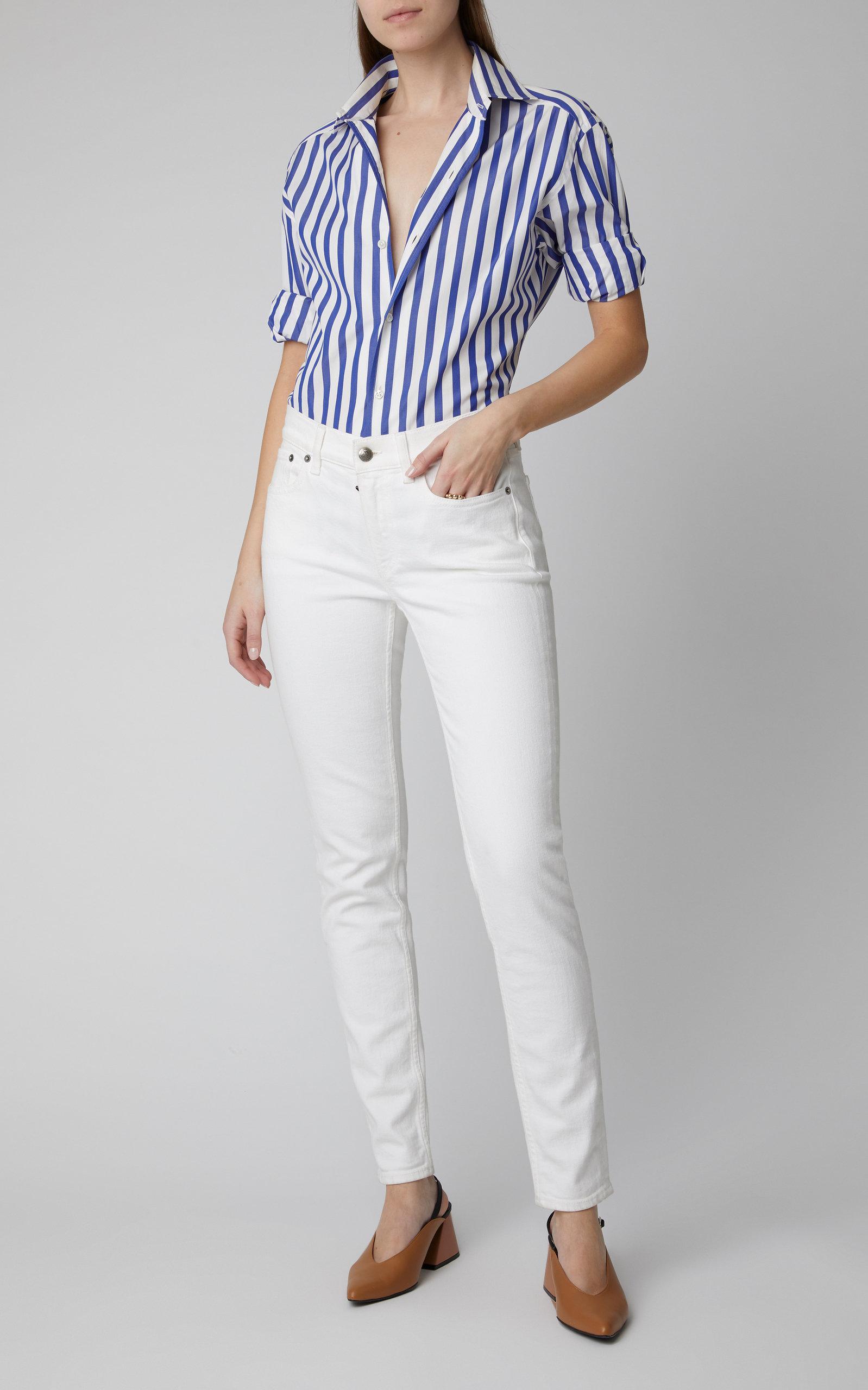 7d624275086 Lyst - Ralph Lauren Capri Striped Cotton-poplin Button Down Shirt in ...