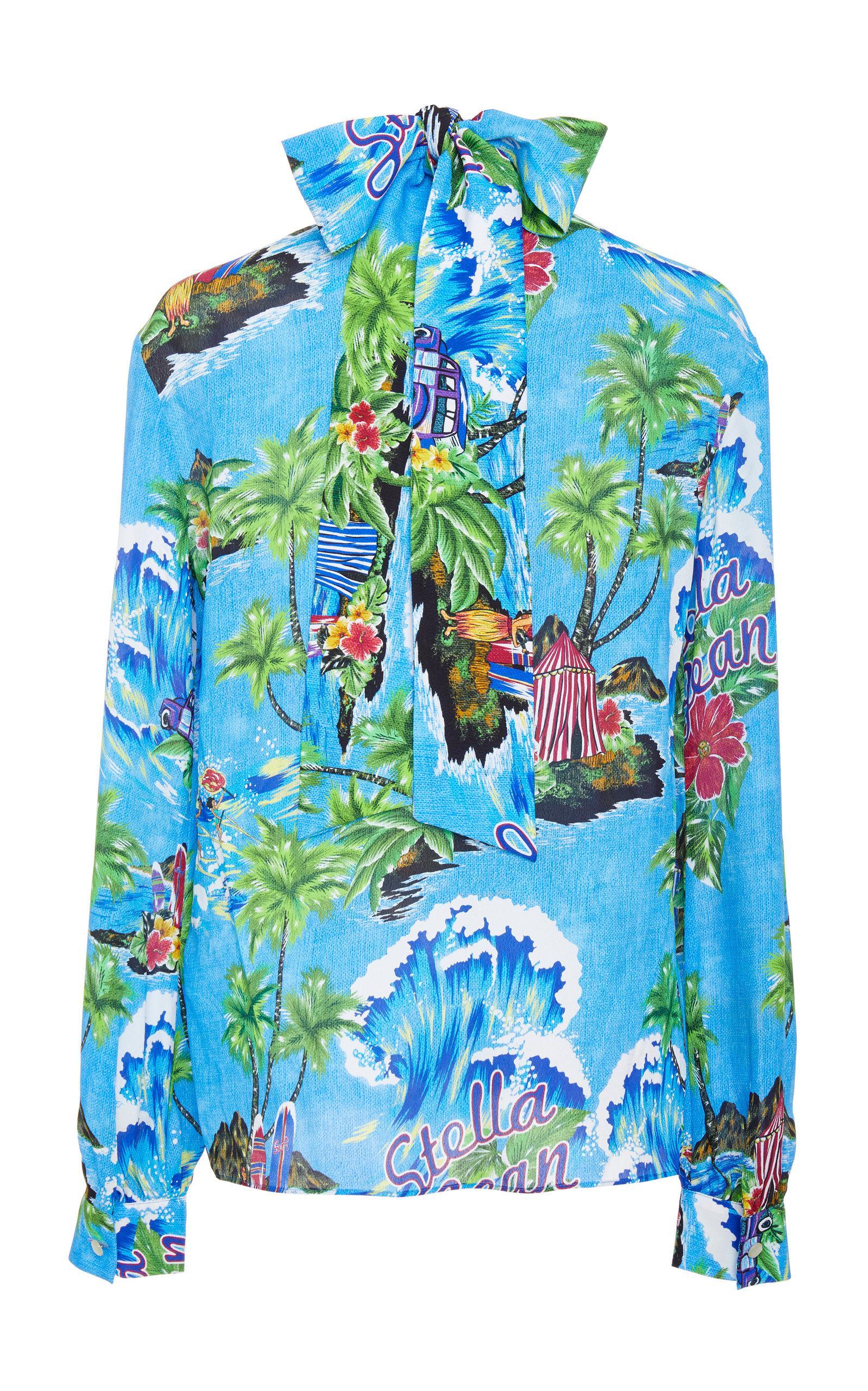 8cada6ab Lyst - Stella Jean High Neck Hawaiian Top in Blue