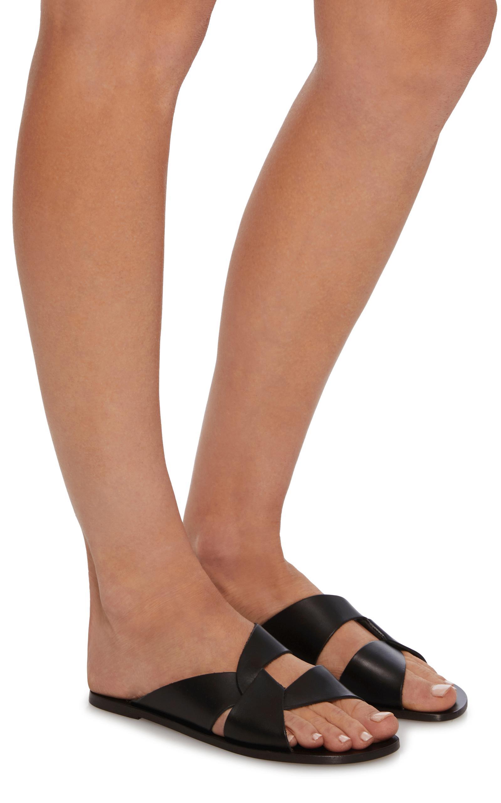 Cheap Big Sale Cheap Sale 2018 Unisex Astrid Leather Sandals - Black ATP Atelier Buy Cheap Real ZQNj0Y1