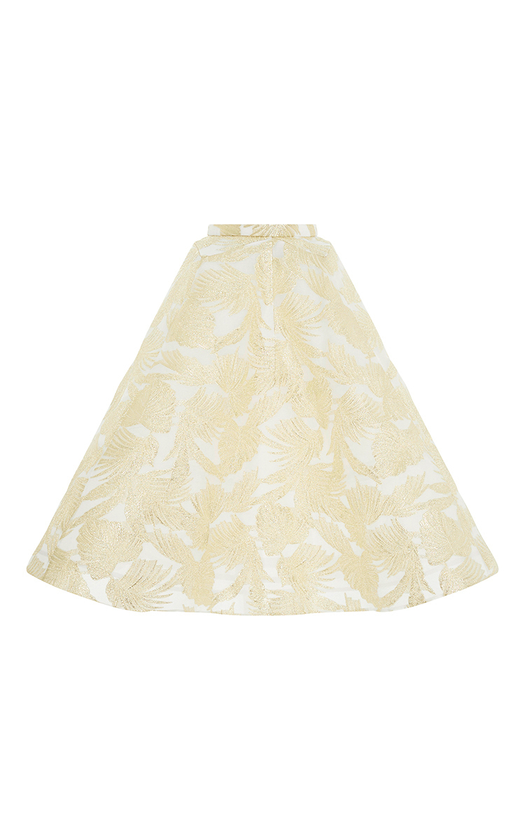 delpozo gold painted floral a line skirt in metallic lyst