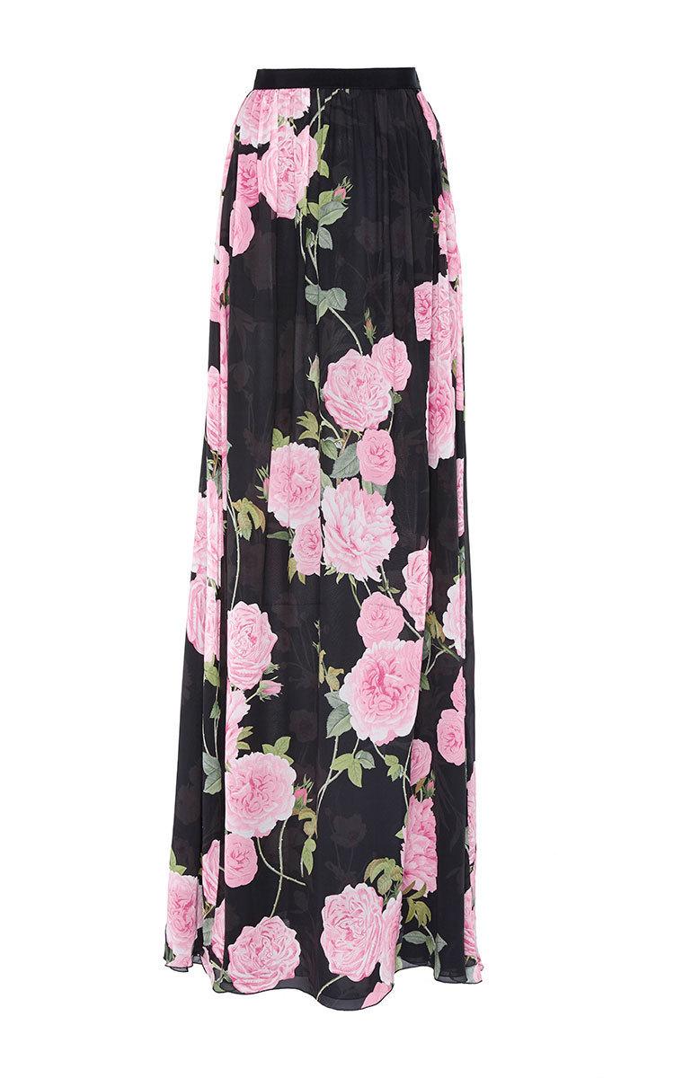 giambattista valli georgette floral maxi skirt in black lyst