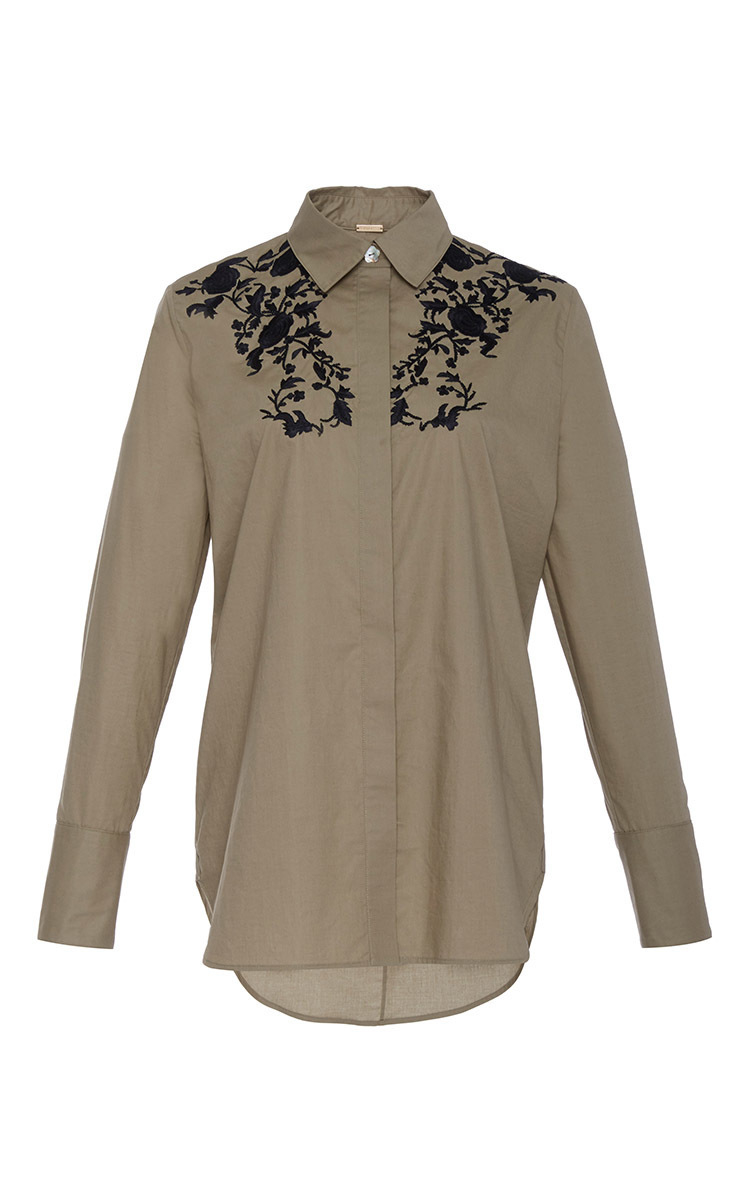 Adam Lippes Embroidered Cotton Button Up Shirt In Natural