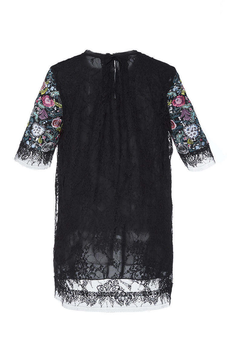 Adam lippes embroidered chantilly lace t shirt in black lyst for Adam lippes t shirt