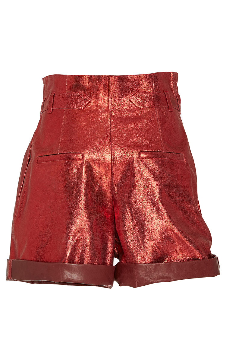 PU Leather Knee Length Skirt - Notched Front Waist / Faux Pockets