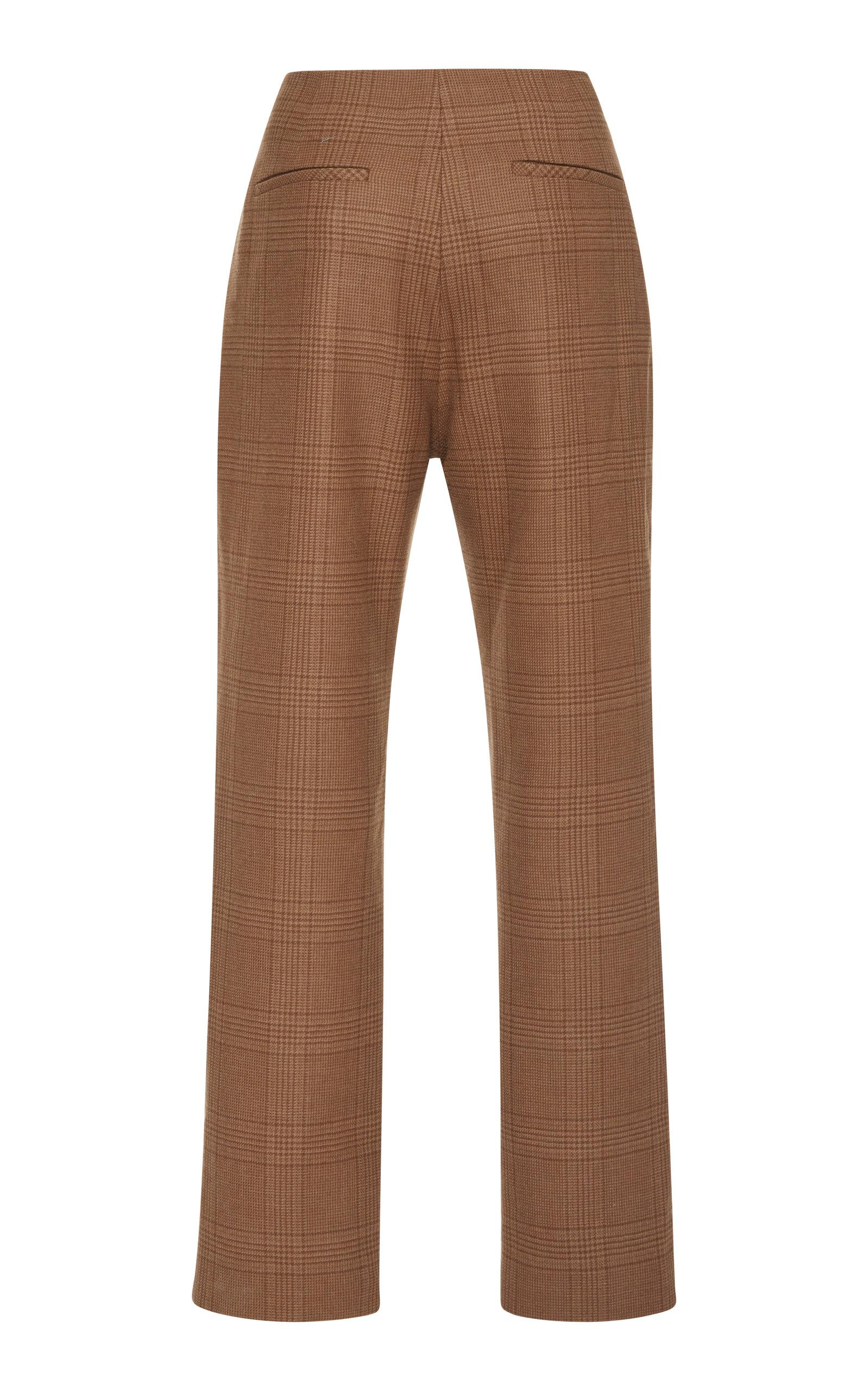 Jonathan Simkhai Cropped Checked Wool Slim-leg Pants in Brown