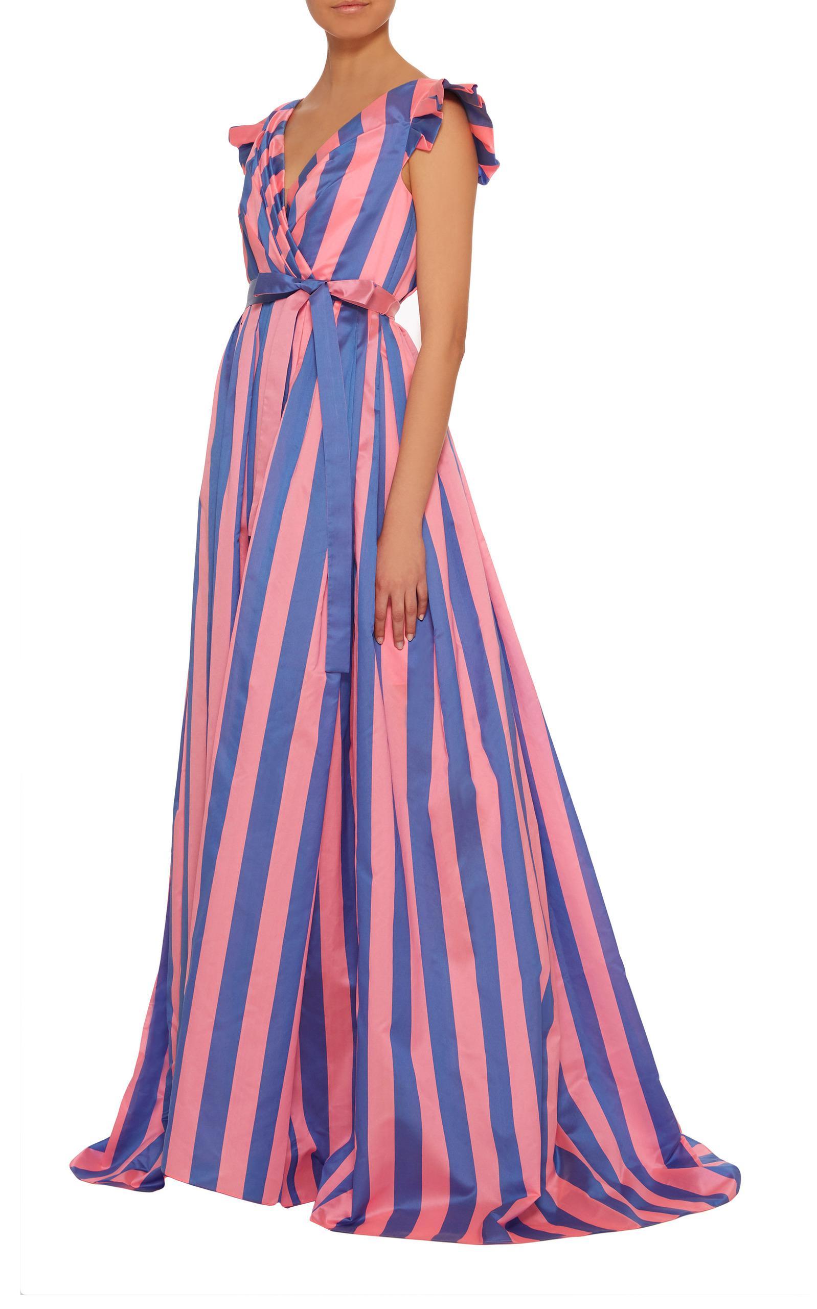 Carolina Herrera Silk Striped Taffeta Ball Gown in Blue