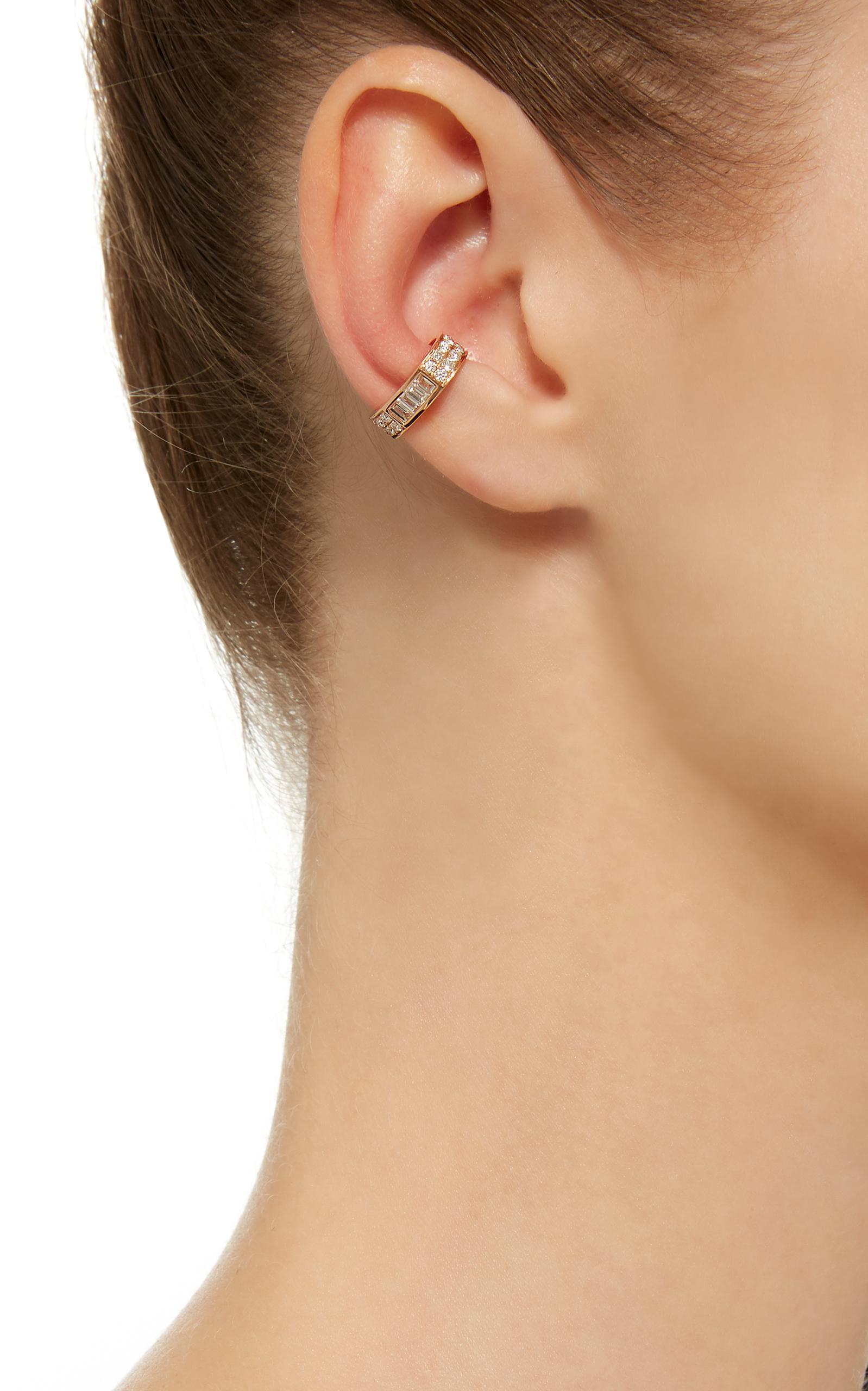 Anita Ko Single Baguette And Diamond Ear Cuff in Pink
