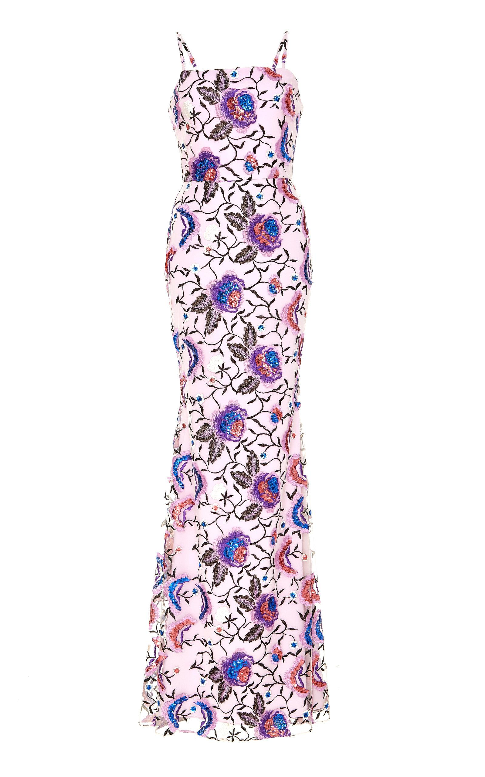 6913cc3663308 Lyst - Christian Siriano Floral Embroidered Gown