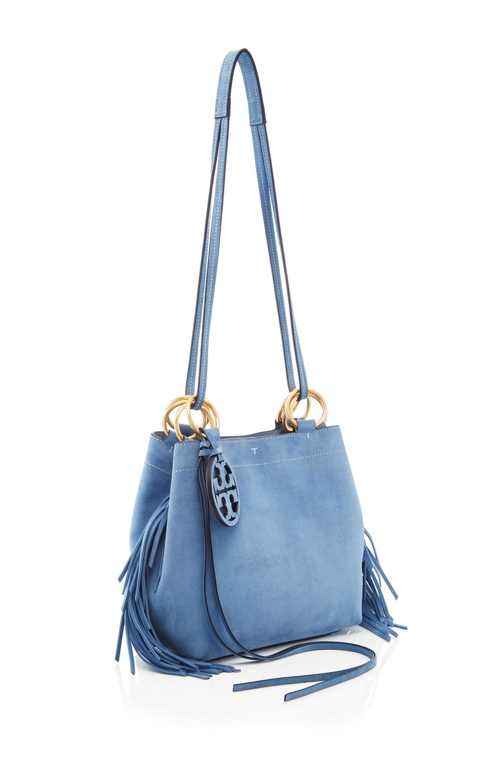 559460f21bb5 Lyst - Tory Burch Farrah Fringe Mini Tote in Blue