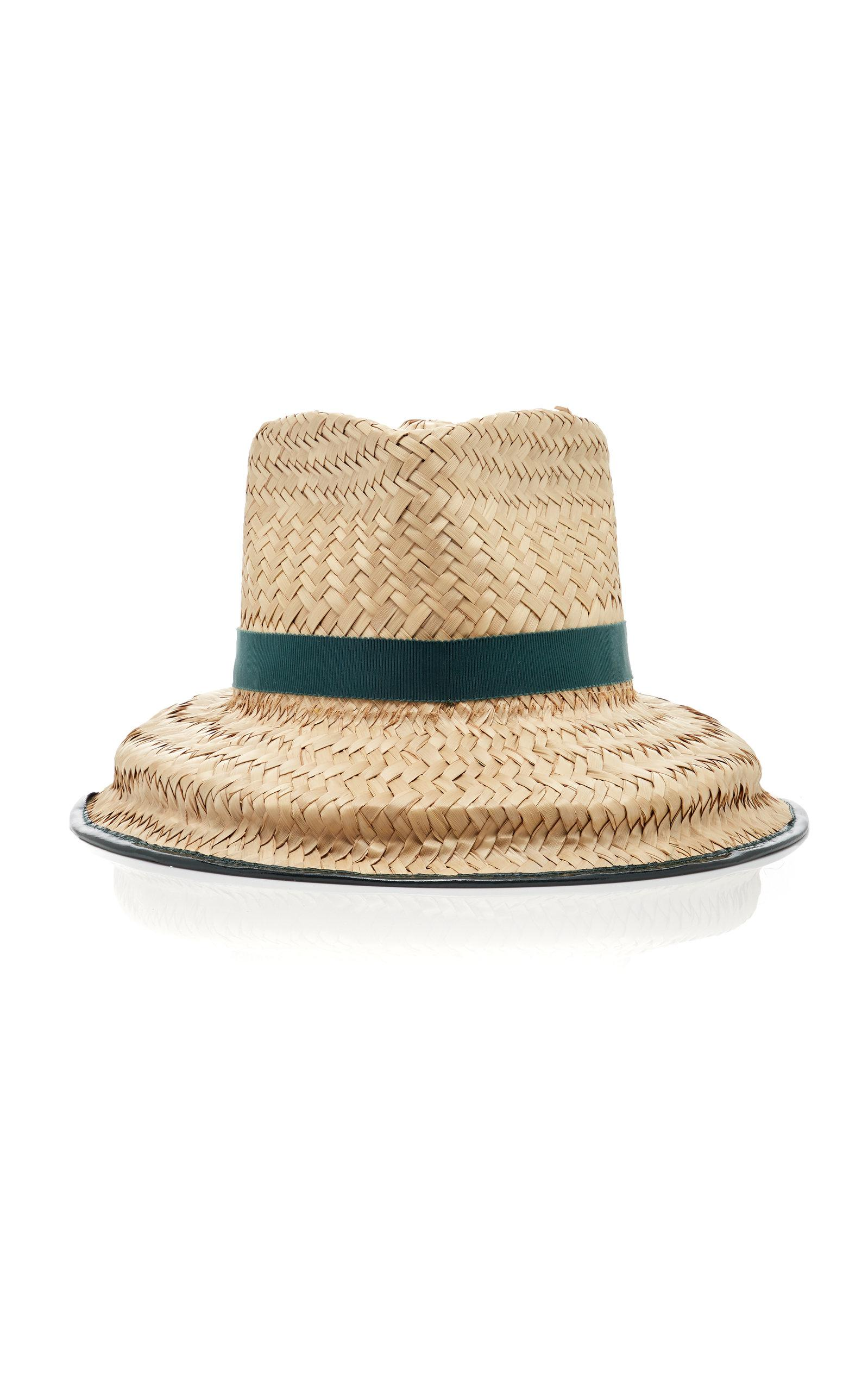 Lyst - Tory Burch Structured Basket-weave Hat in Green a48801cbe355