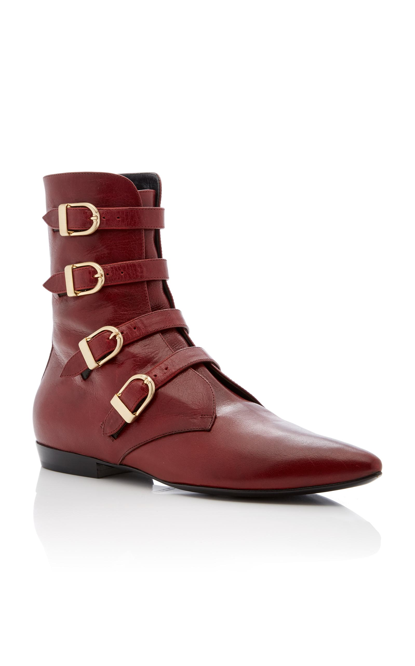 Philosophy Di Lorenzo Serafini Leather Buckle Ankle Boot in Red
