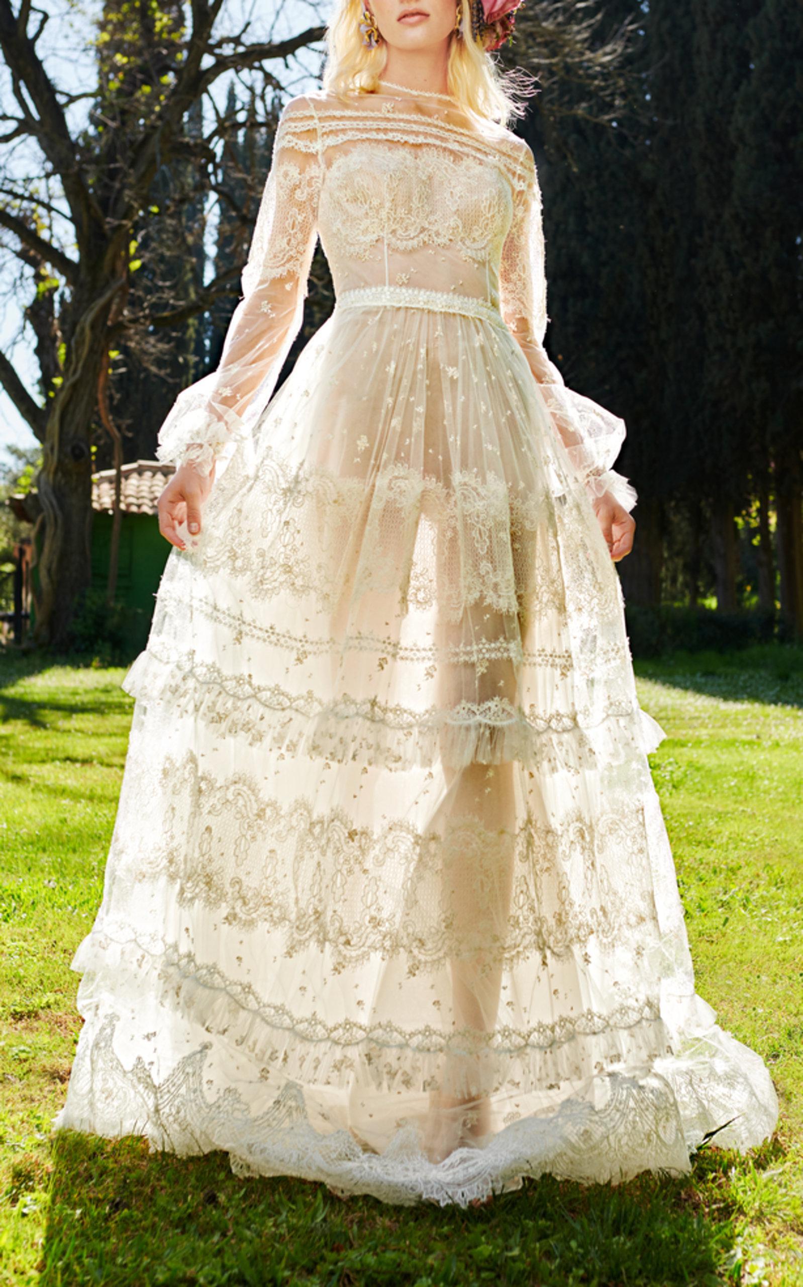 Lyst - Costarellos Bridal Romantic Gossamer Gown in White