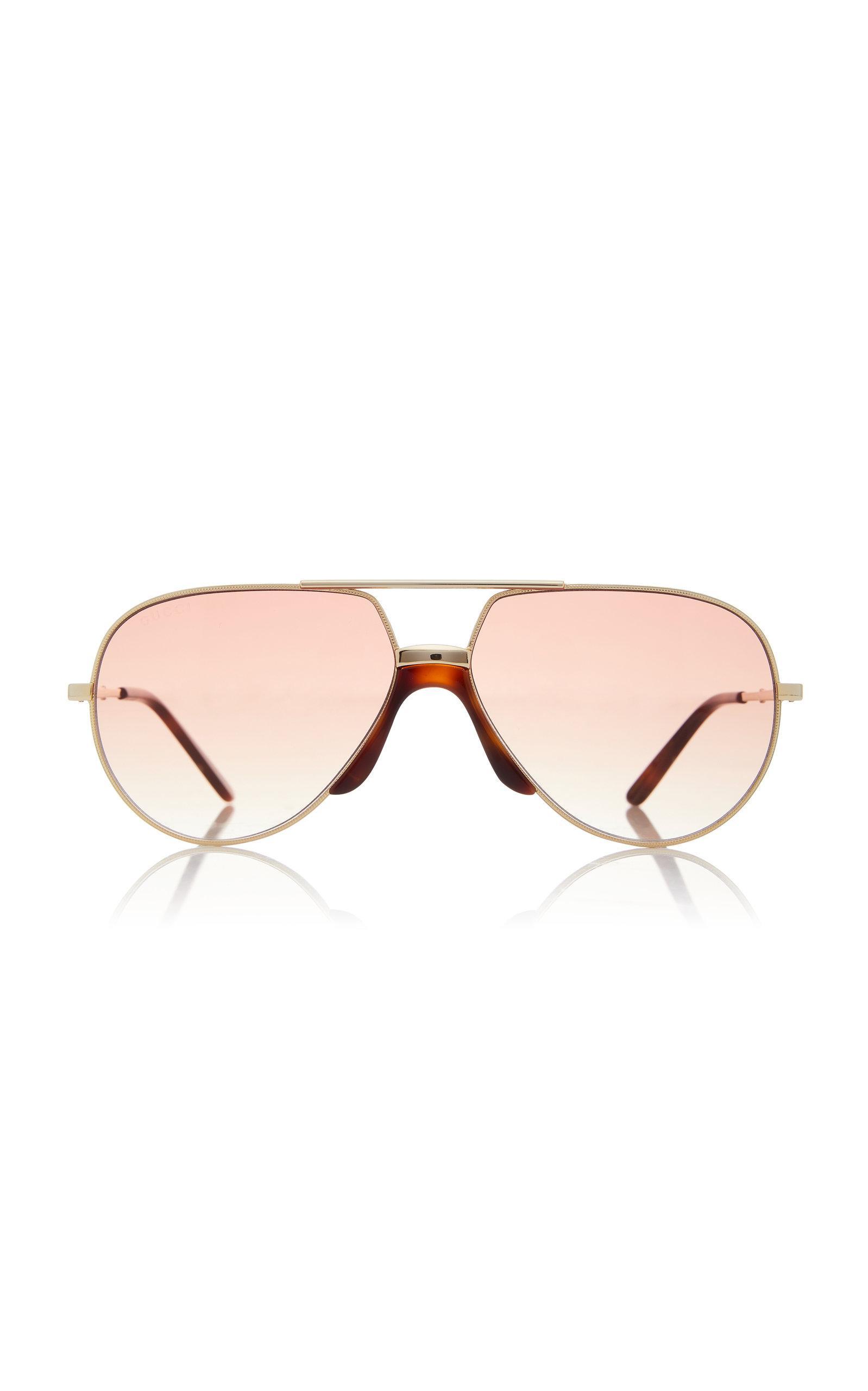 ba827642526 Gucci Oversized Metal Aviator Sunglasses in Metallic for Men - Lyst