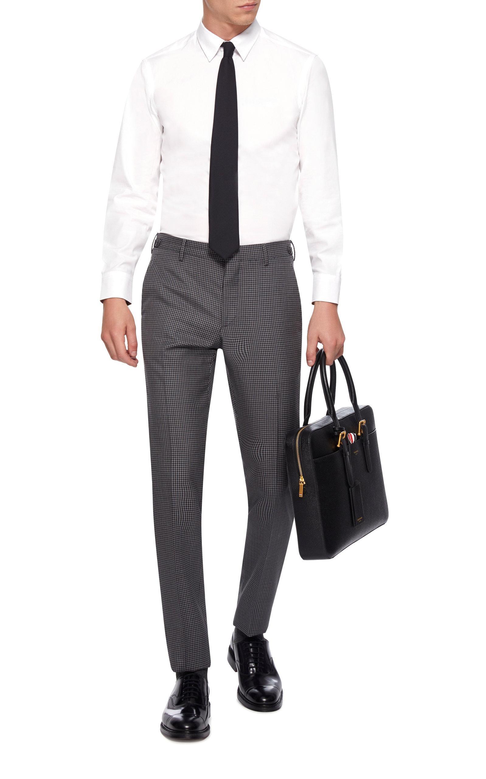 Prada Slim-fit Houndstooth Wool And Mohair-blend Pants in Grey for Men