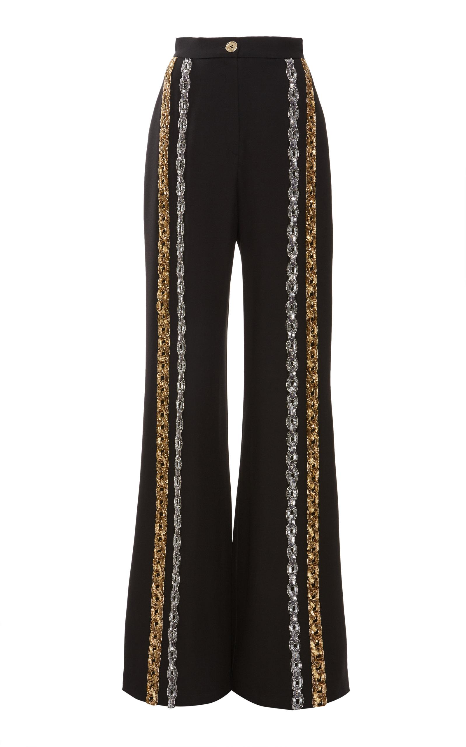 5c42c5c02093 Elie Saab High Waist Sequin Embellished Cady Pants in Black - Lyst